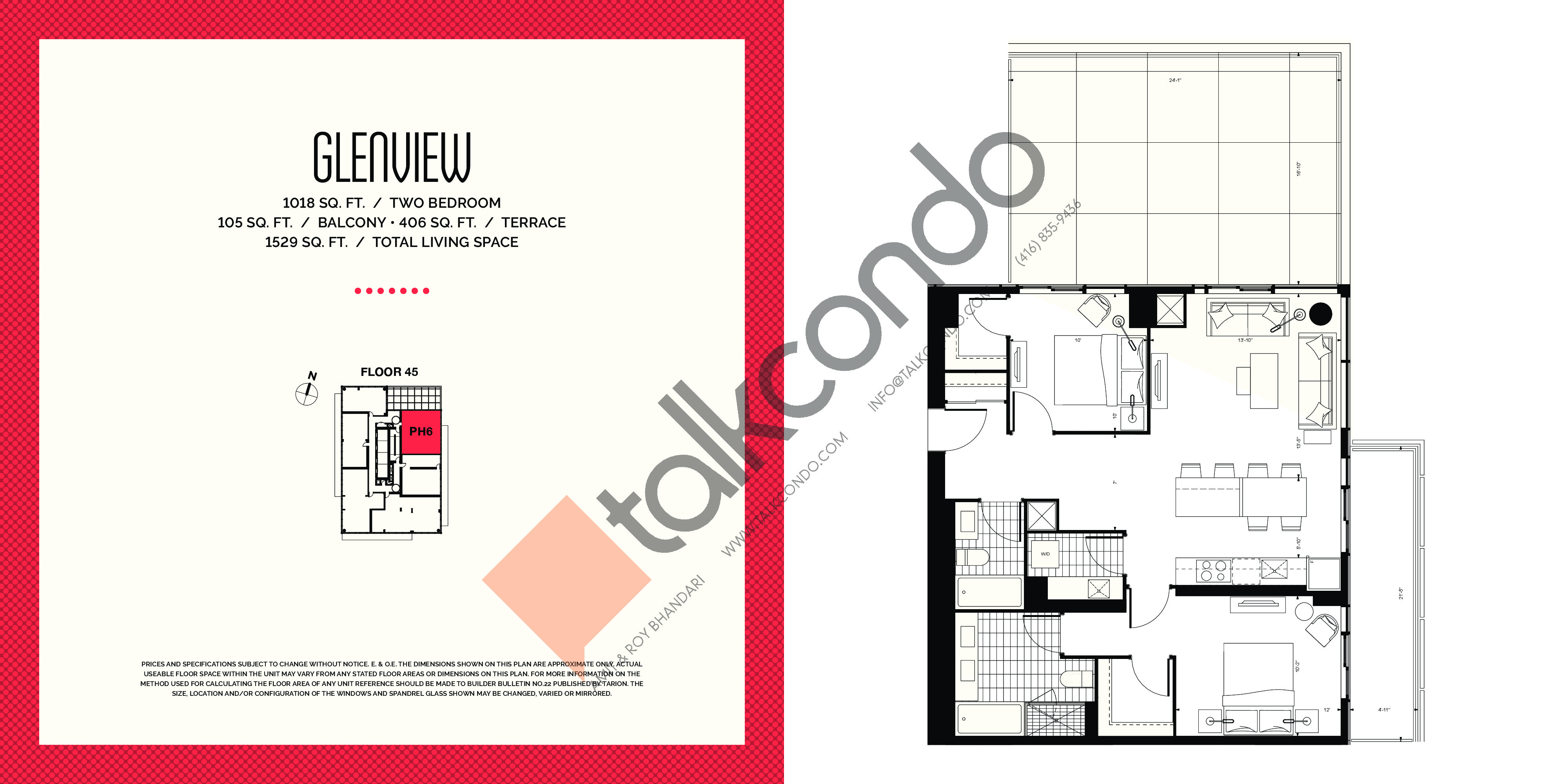 Glenview Floor Plan at E2 Condos - 1018 sq.ft