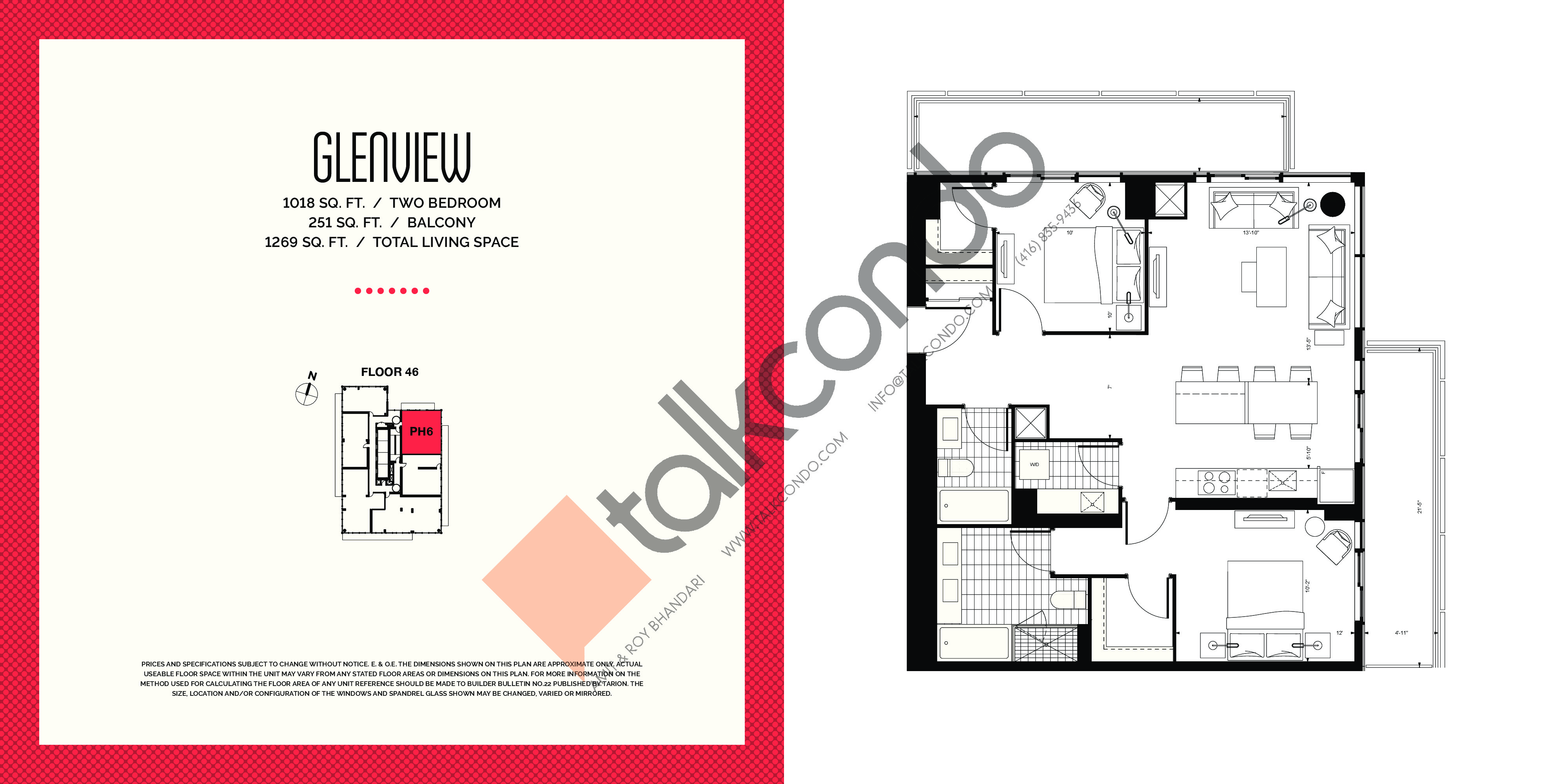 Glenview Floor Plan at E2 Condos - 1018 sq.ft
