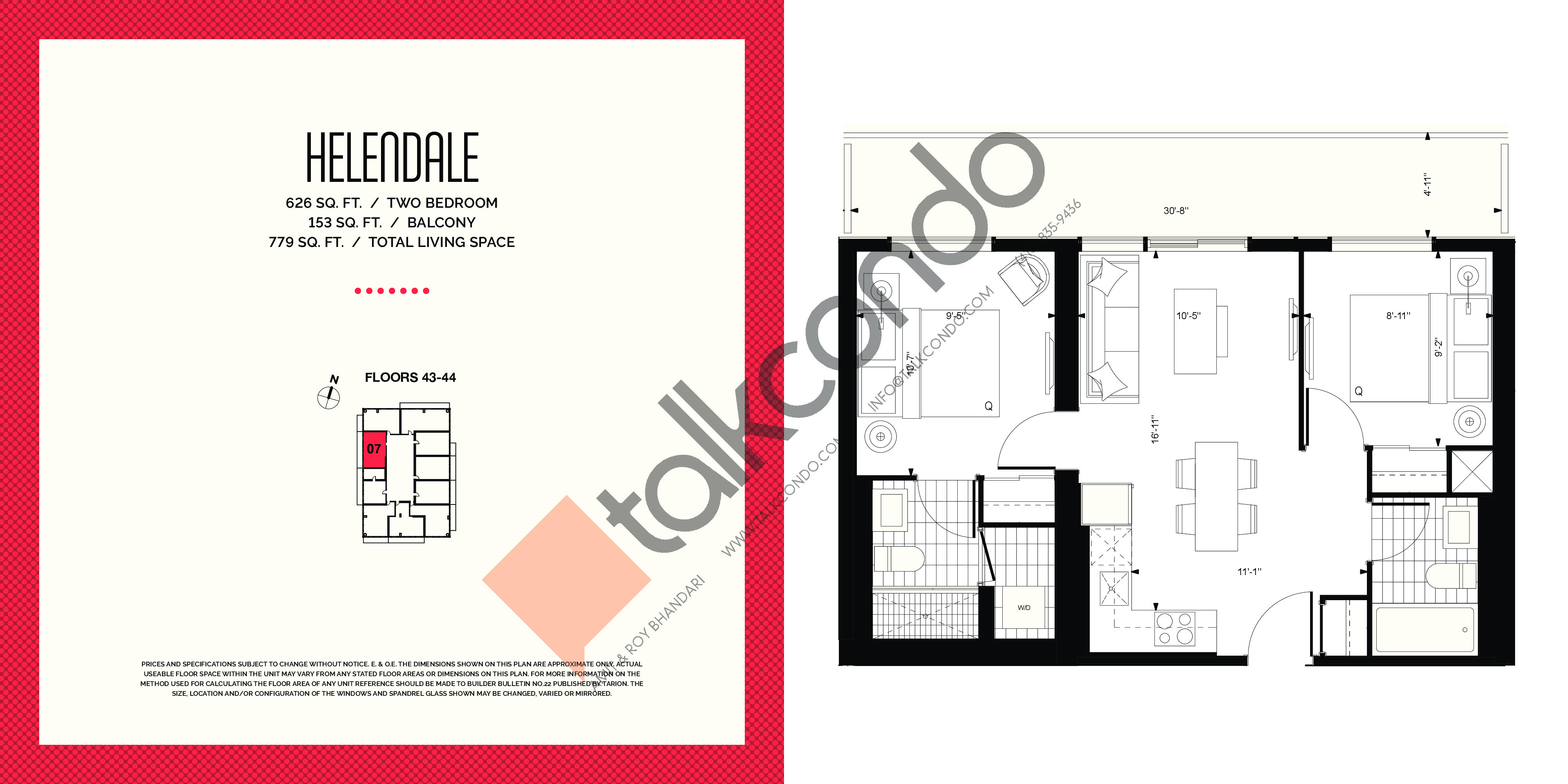 Helendale Floor Plan at E2 Condos - 626 sq.ft