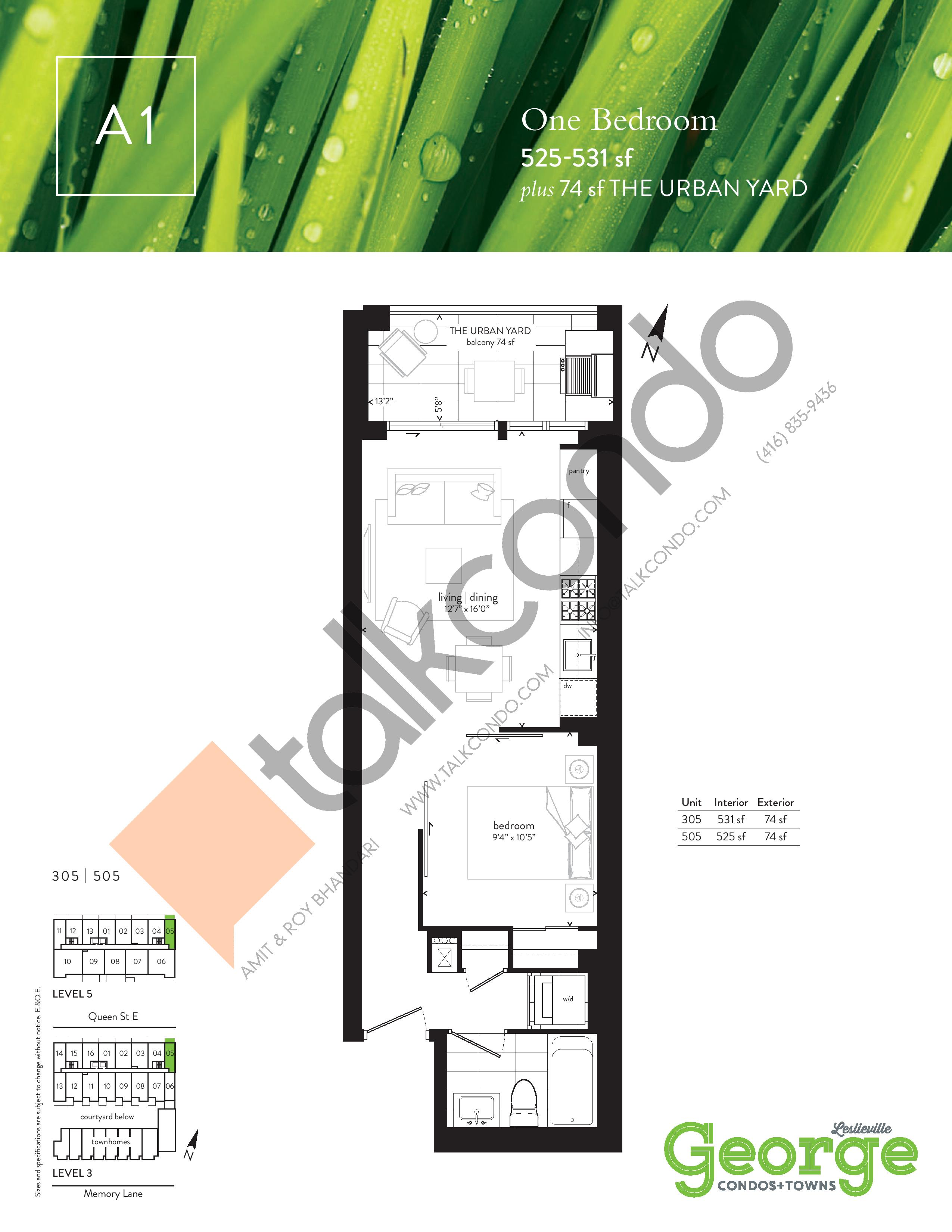 A1 Floor Plan at George Condos & Towns - 525 sq.ft