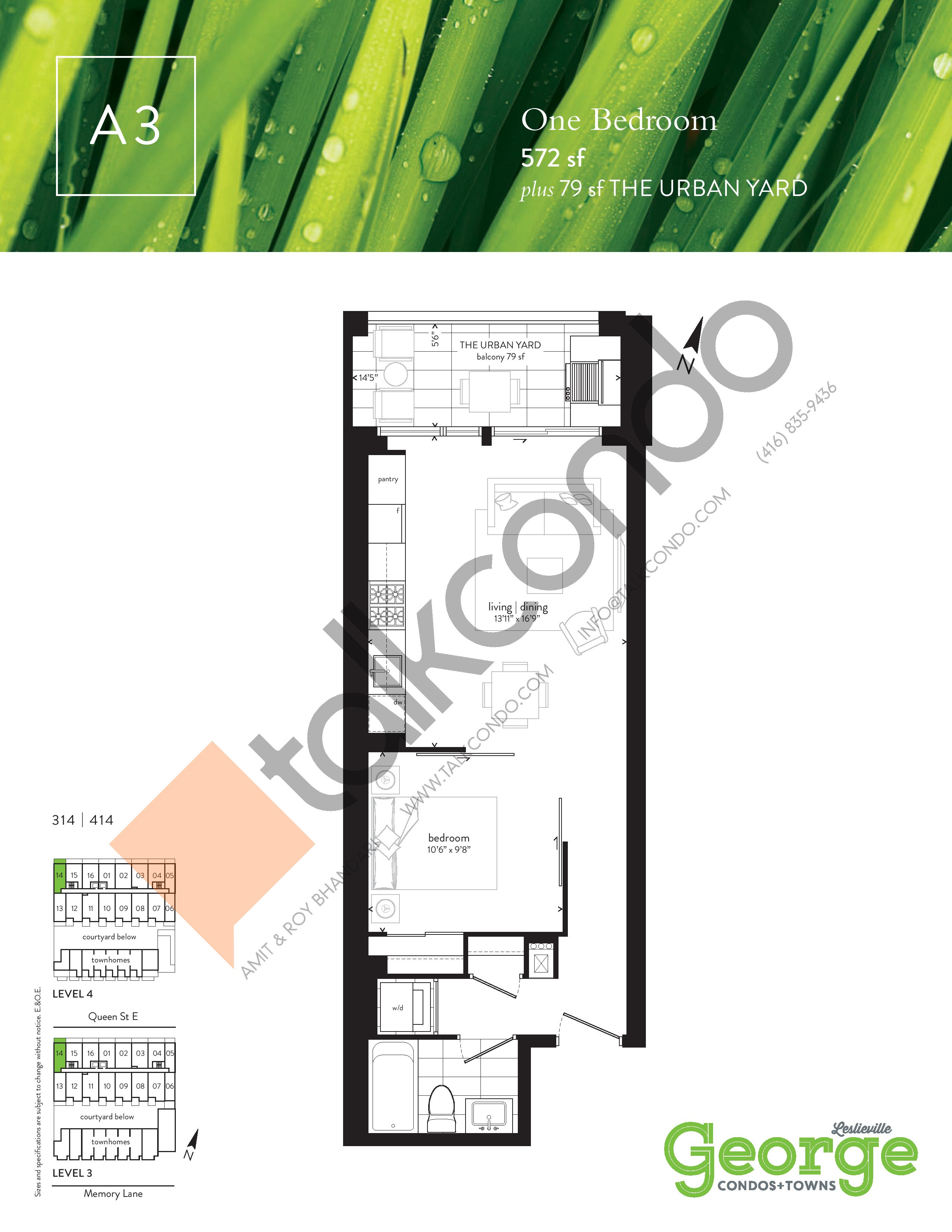 A3 Floor Plan at George Condos & Towns - 572 sq.ft