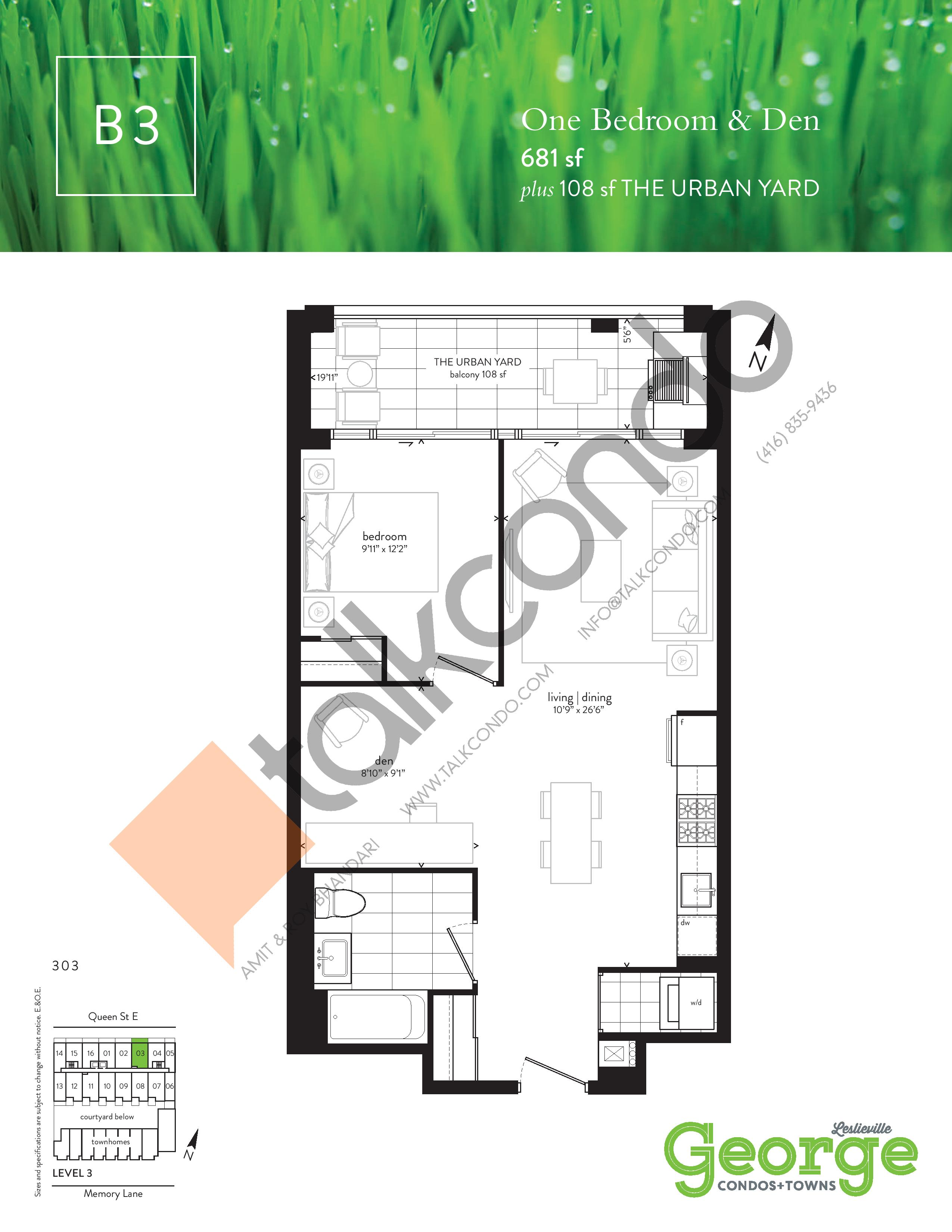 B3 Floor Plan at George Condos & Towns - 681 sq.ft