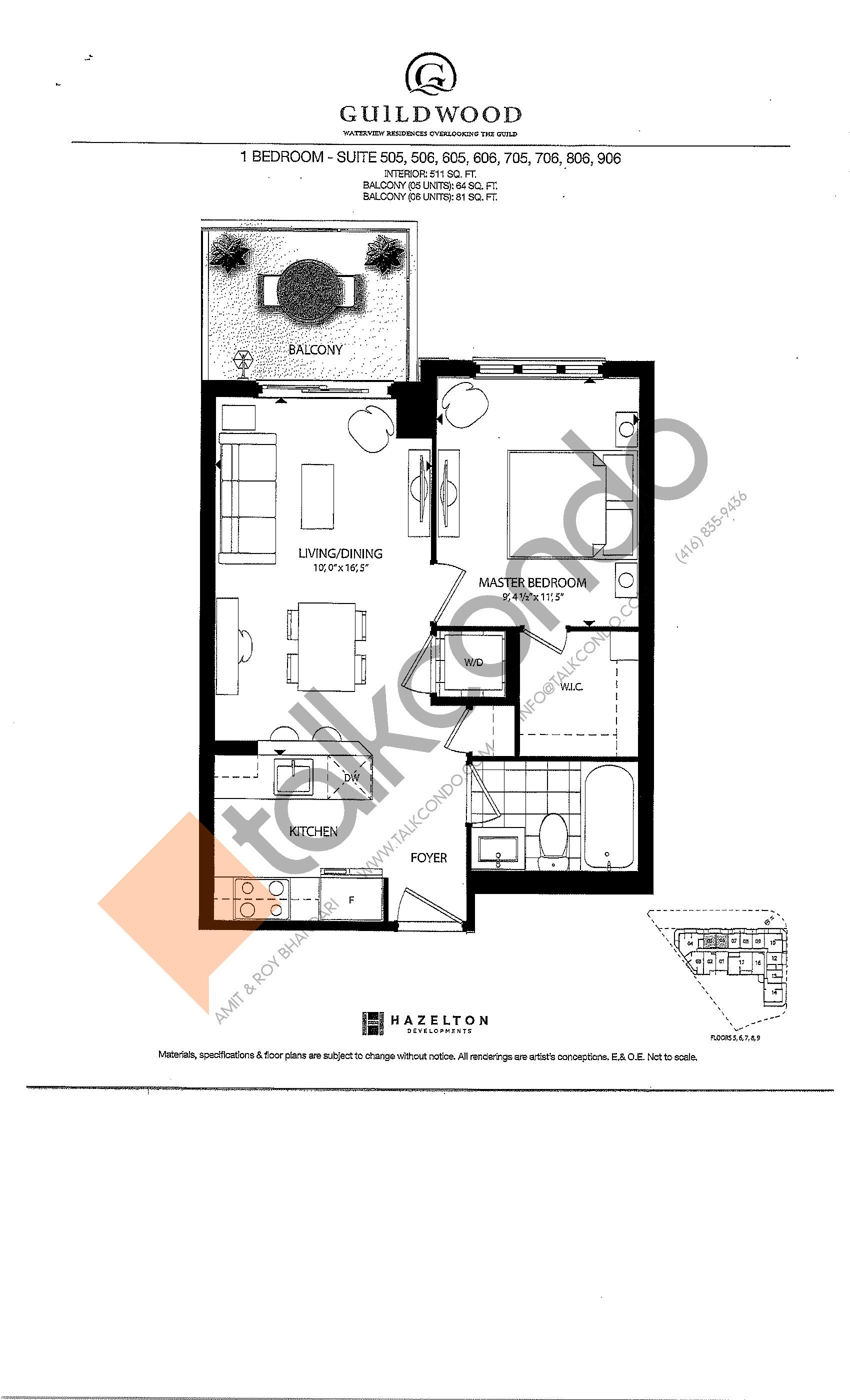 Suites 505, 506, 605, 606, 705, 706, 806, 906 Floor Plan at Guildwood Condos - 511 sq.ft