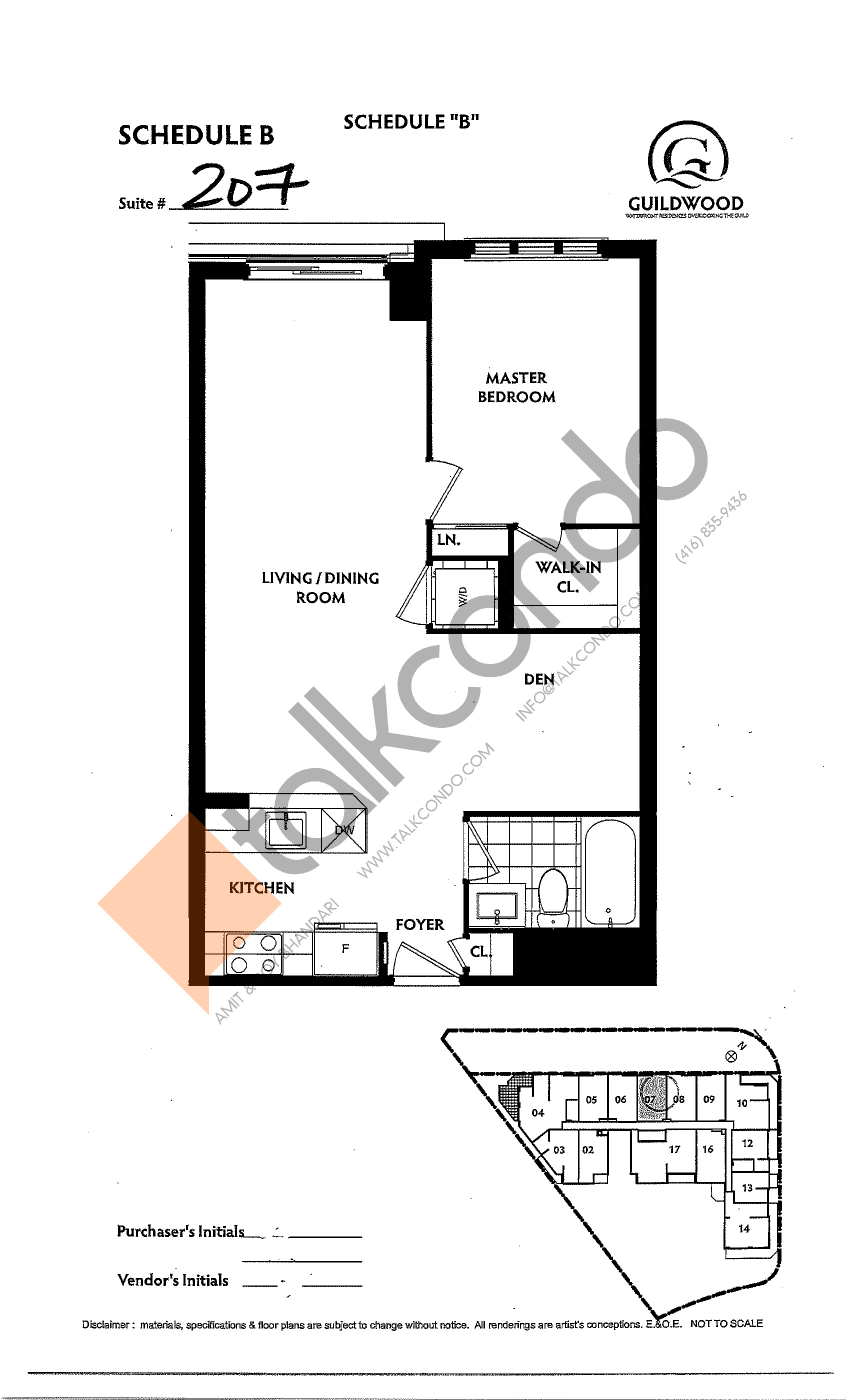 Suite 207 Floor Plan at Guildwood Condos - 668 sq.ft