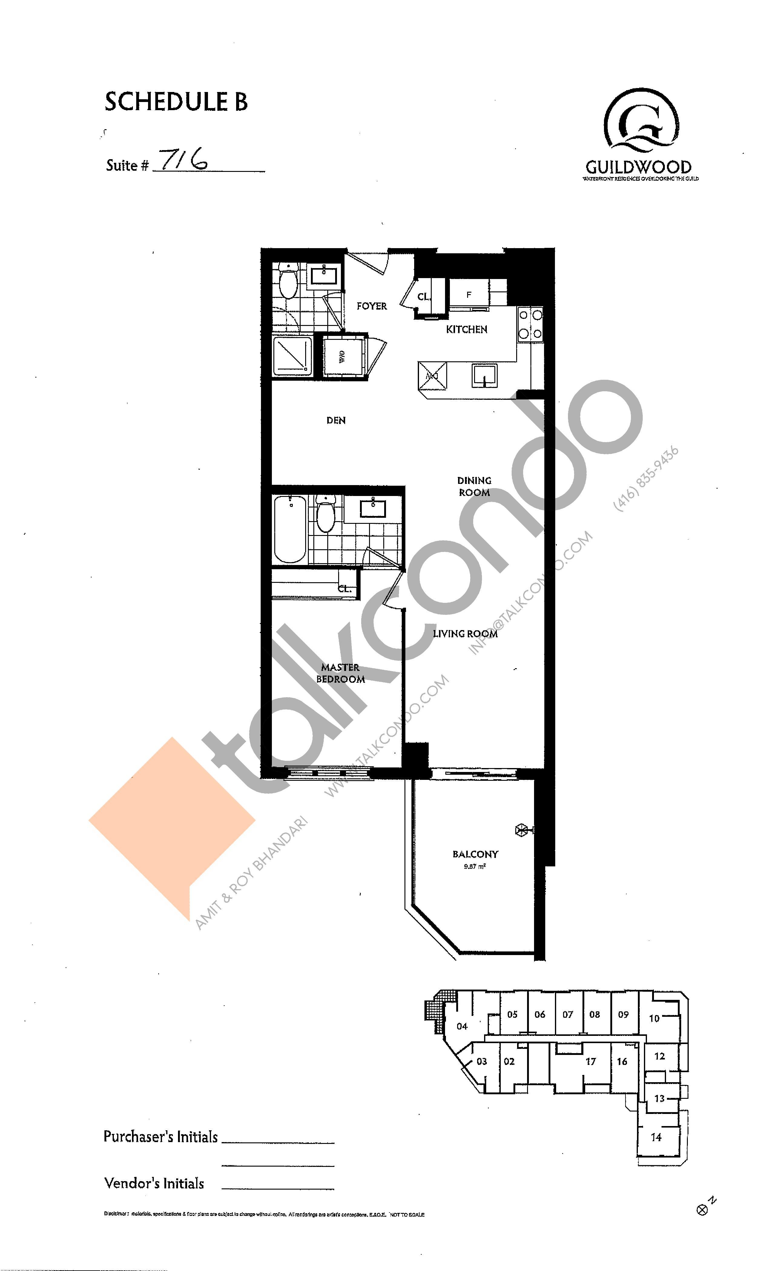 Suite 716 Floor Plan at Guildwood Condos - 760 sq.ft