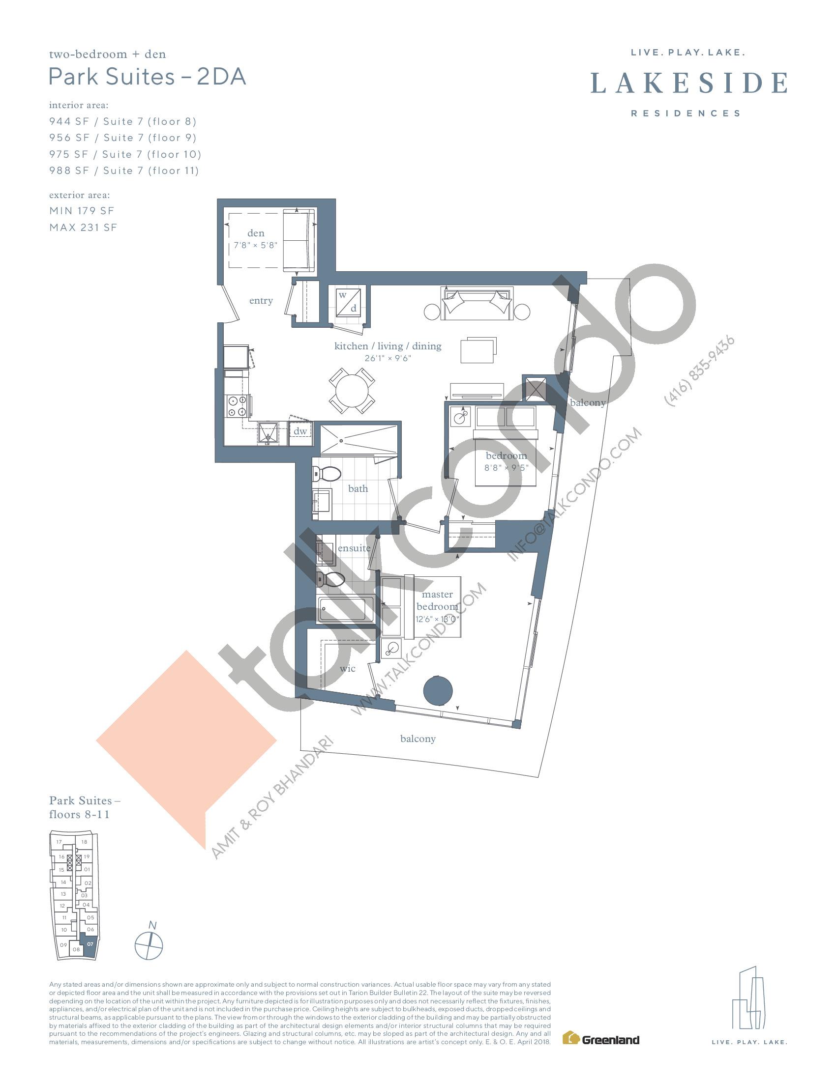 Park Suites - 2DA Floor Plan at Lakeside Residences - 988 sq.ft