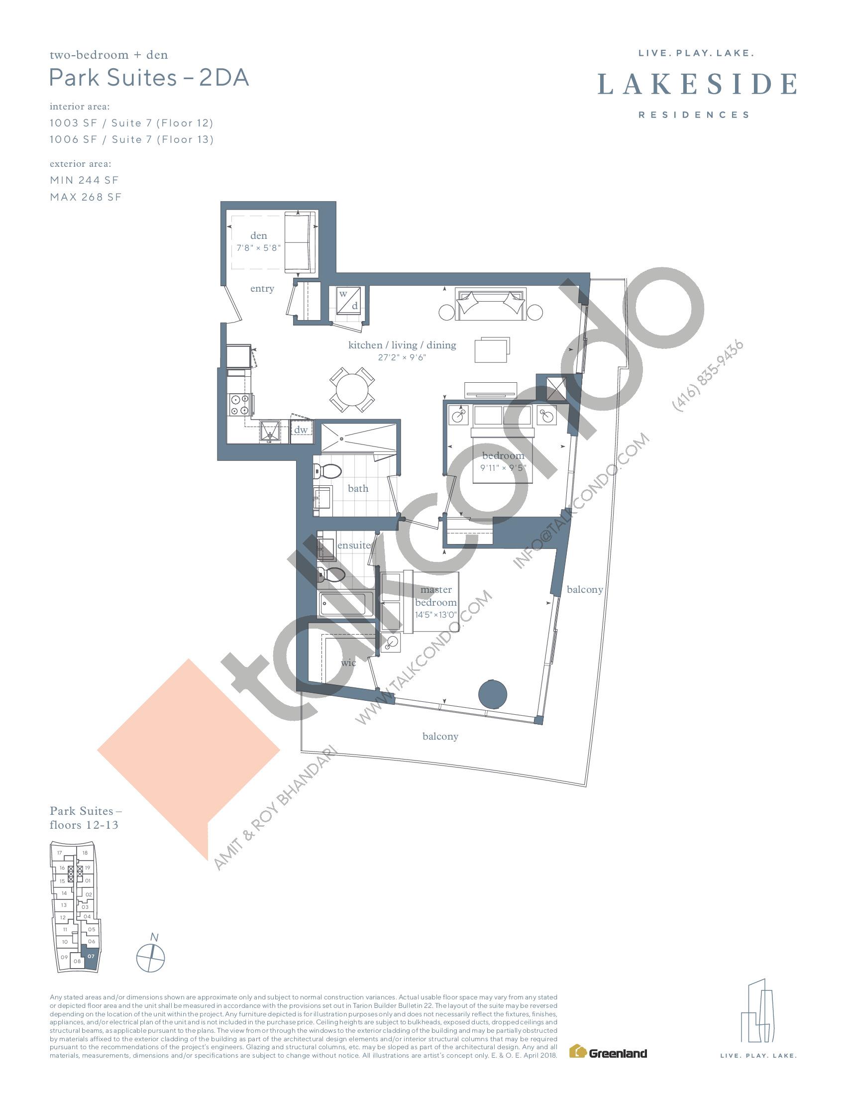 Park Suites - 2DA Floor Plan at Lakeside Residences - 1006 sq.ft