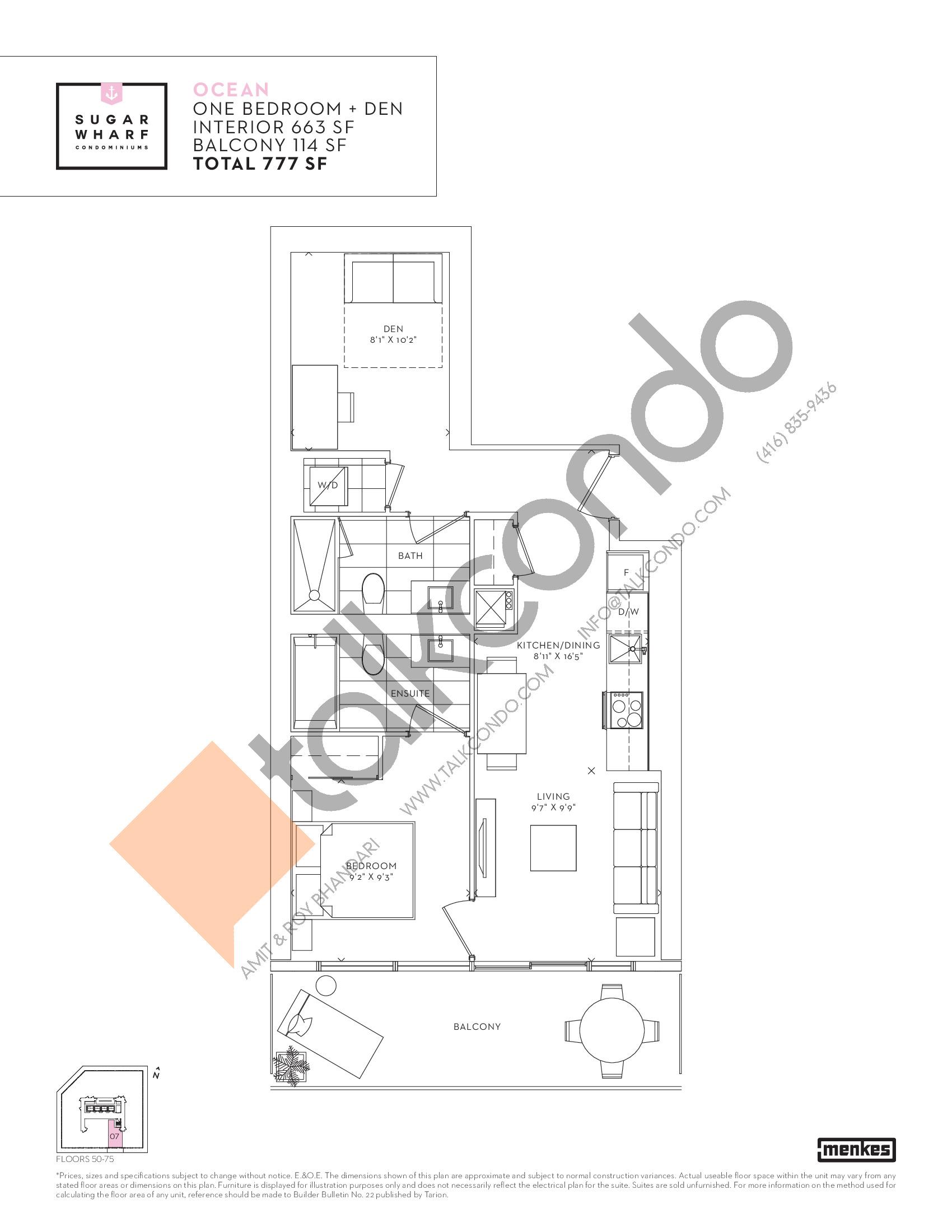 Ocean Floor Plan at Sugar Wharf Condos East Tower - 663 sq.ft
