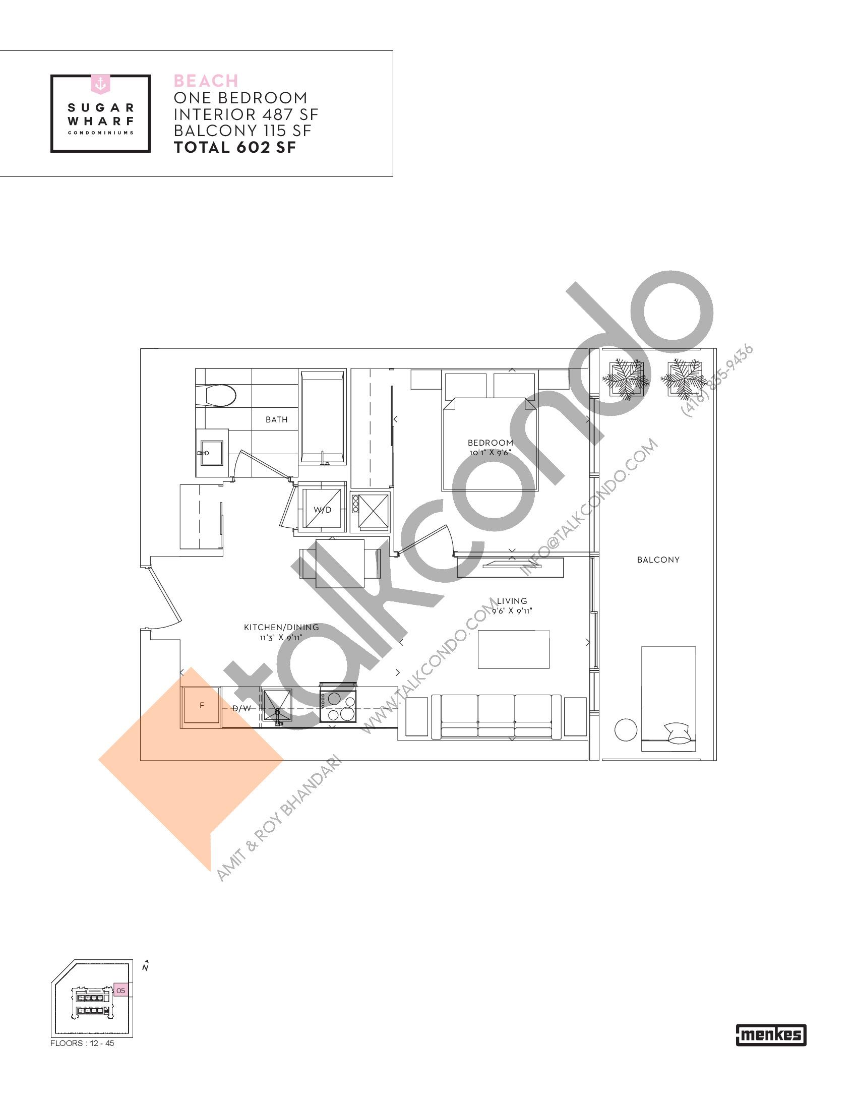 Beach Floor Plan at Sugar Wharf Condos East Tower - 487 sq.ft