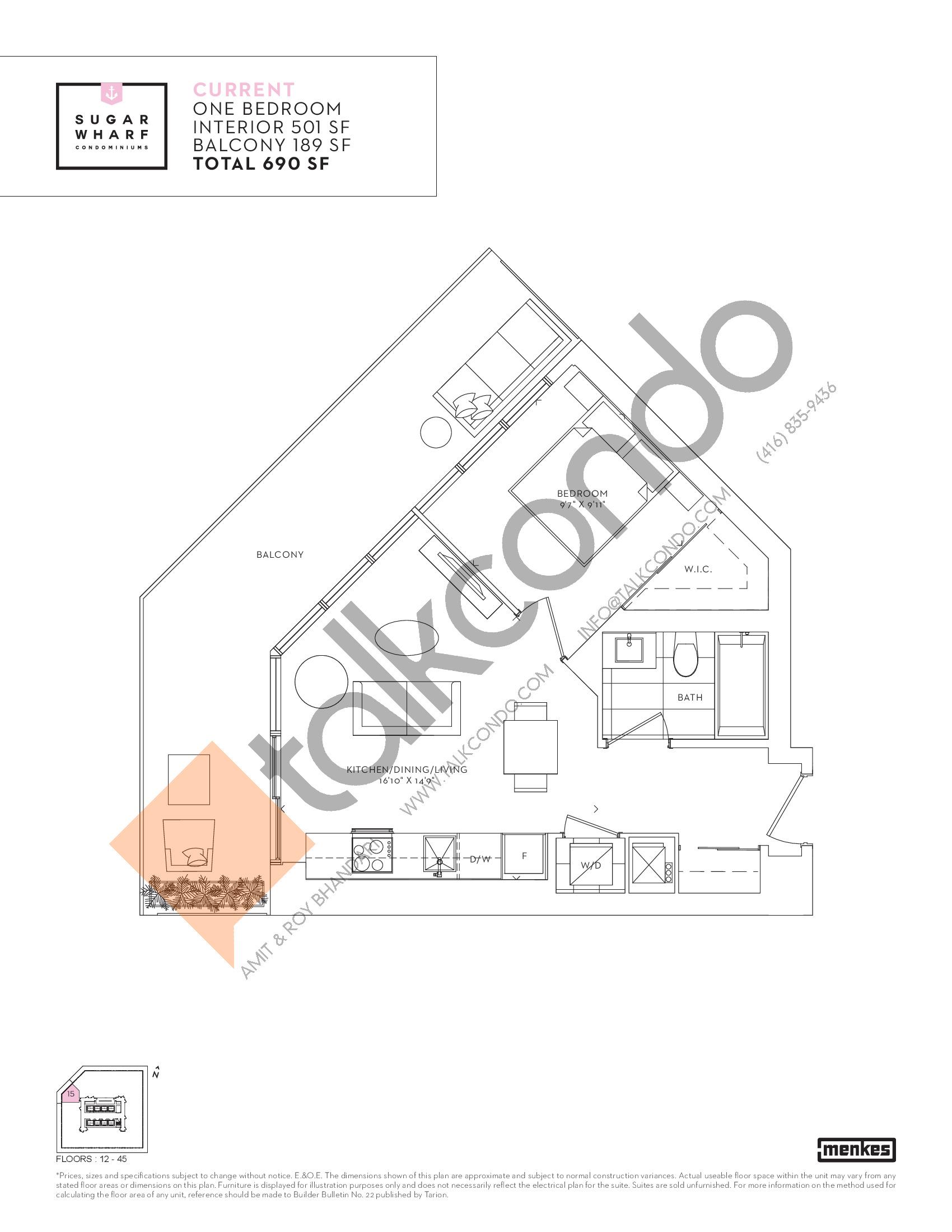 Current Floor Plan at Sugar Wharf Condos East Tower - 501 sq.ft