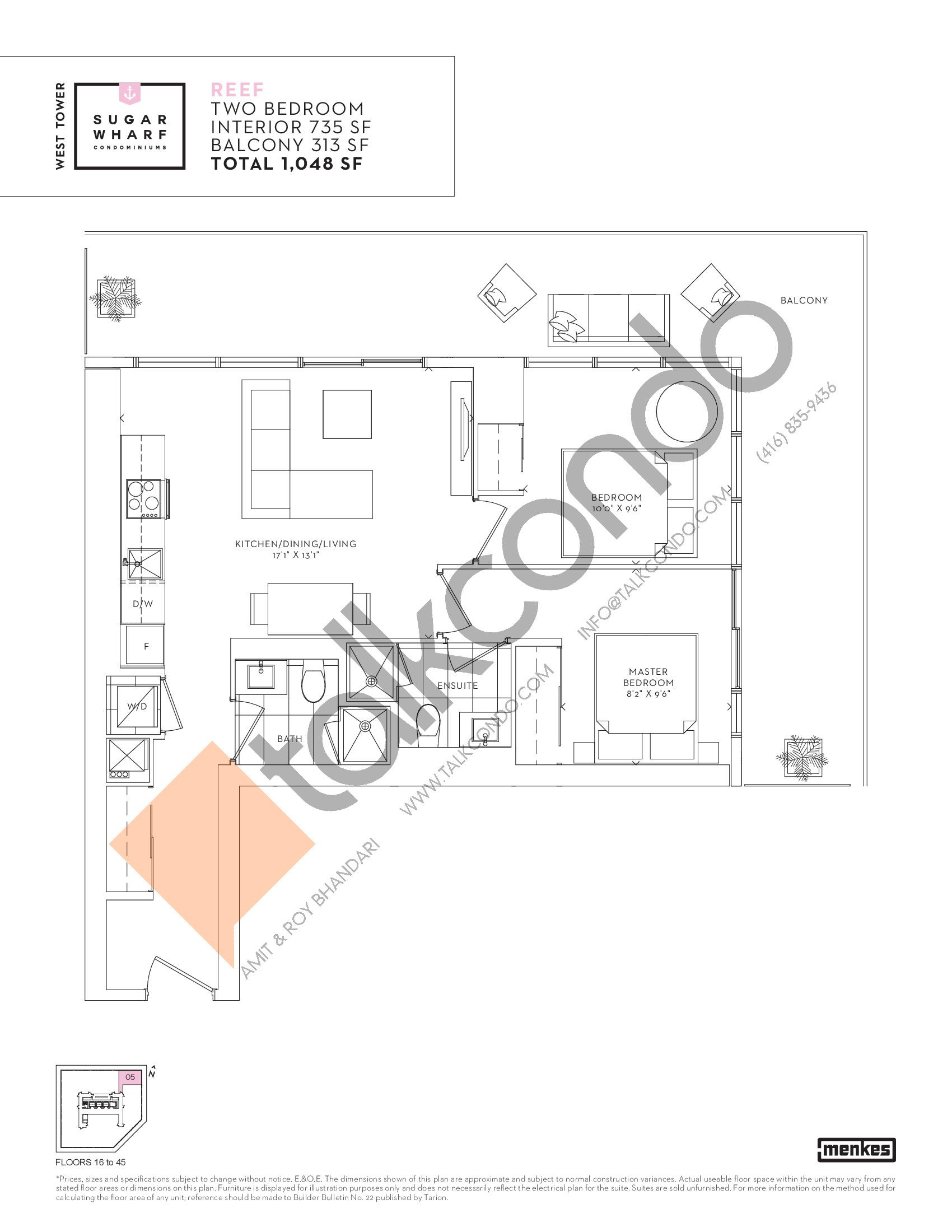 Reef Floor Plan at Sugar Wharf Condos West Tower - 735 sq.ft