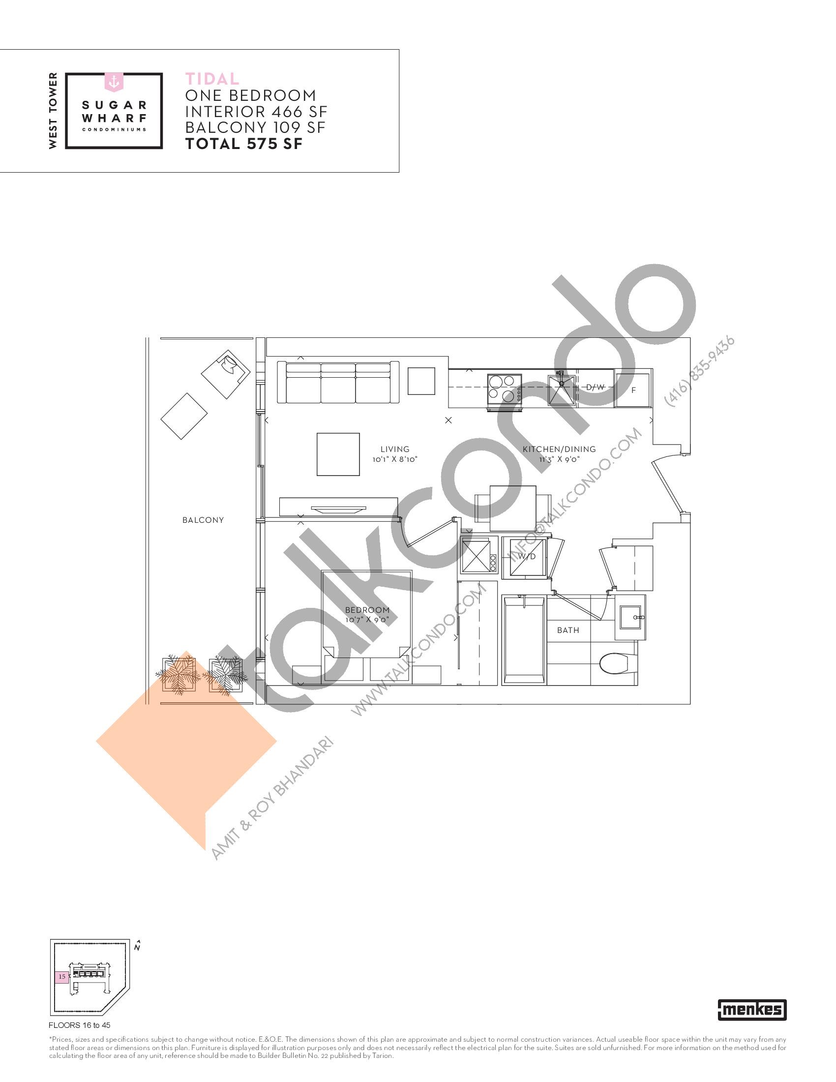 Tidal Floor Plan at Sugar Wharf Condos West Tower - 466 sq.ft