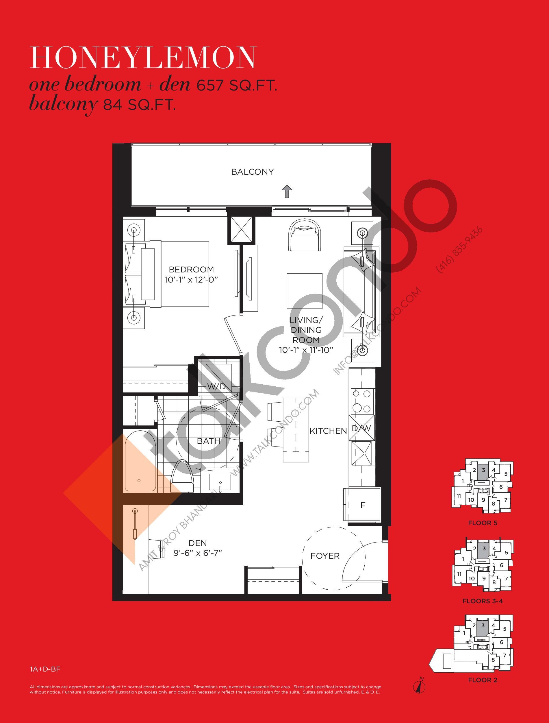 Honeylemon Floor Plan at Tea Garden Condos - 657 sq.ft