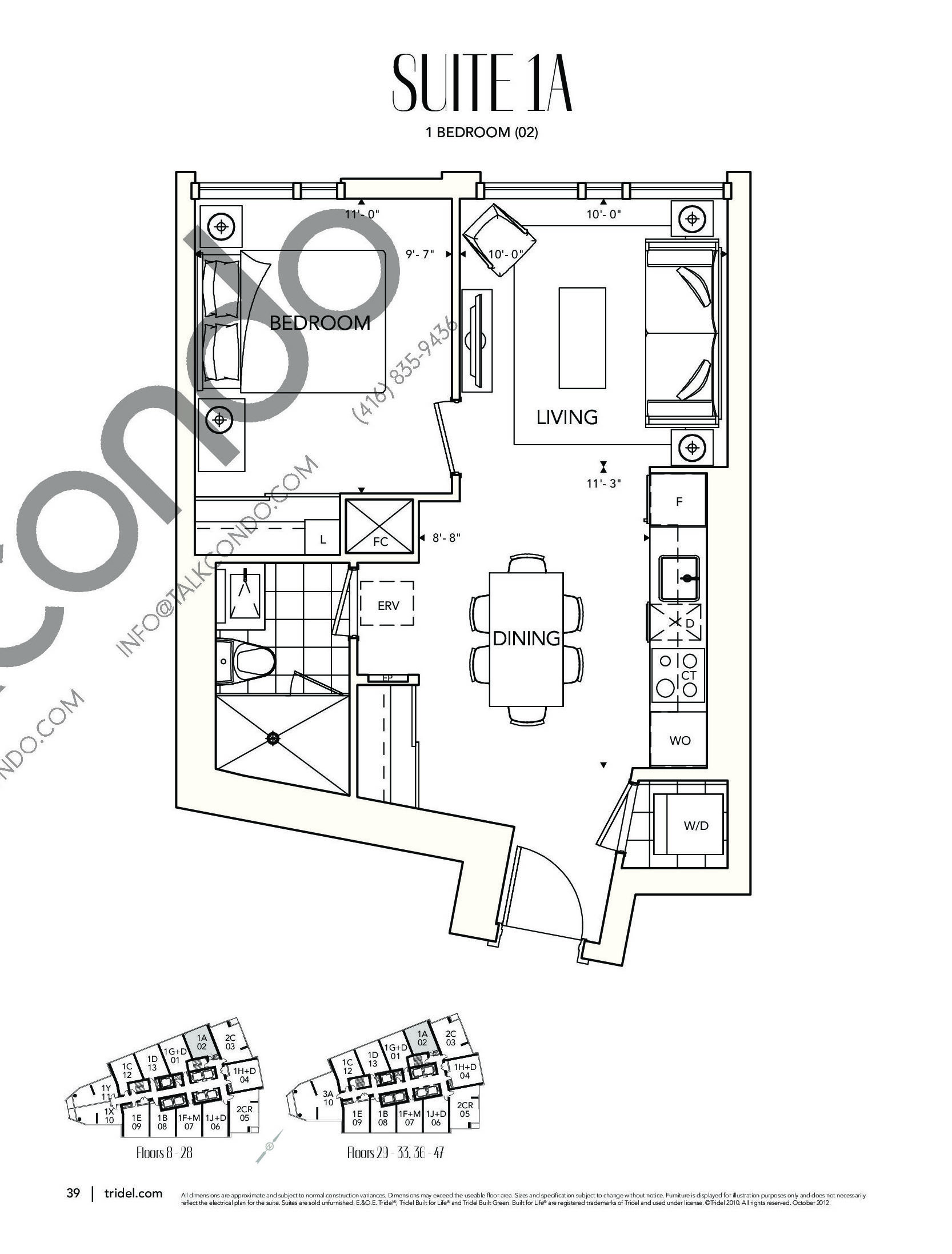 Suite 1A Floor Plan at Ten York Condos - 564 sq.ft
