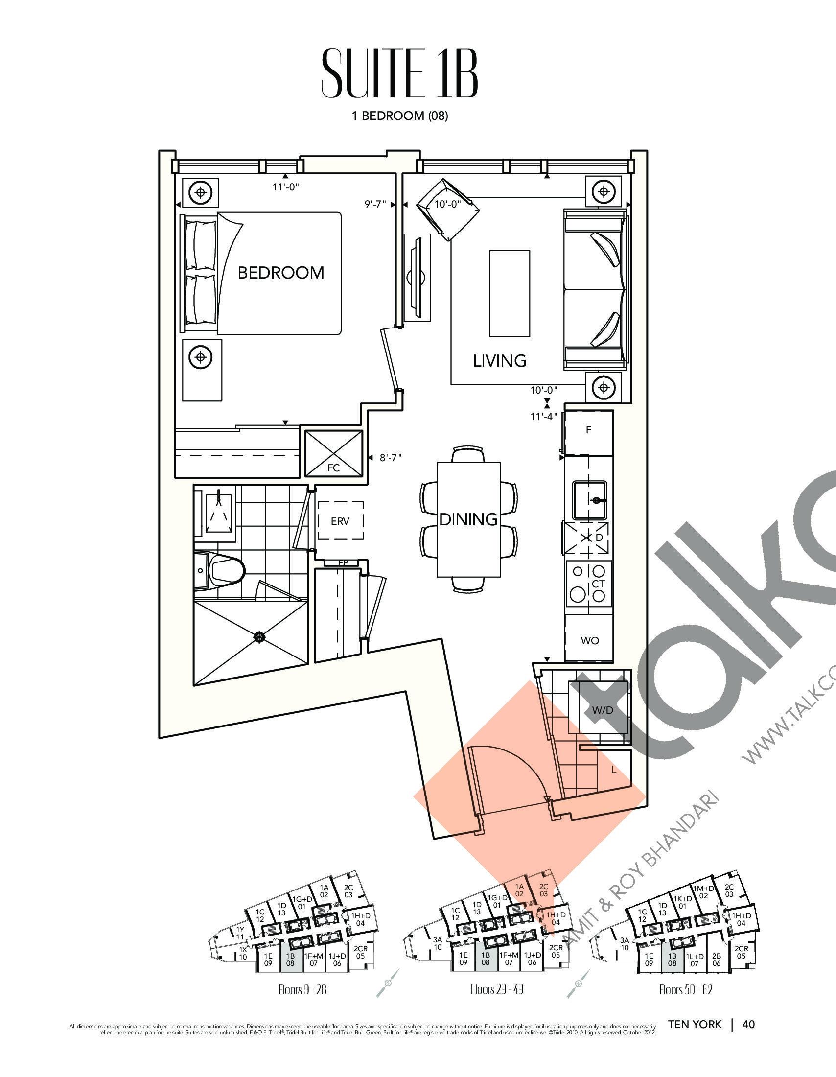 Suite 1B Floor Plan at Ten York Condos - 575 sq.ft
