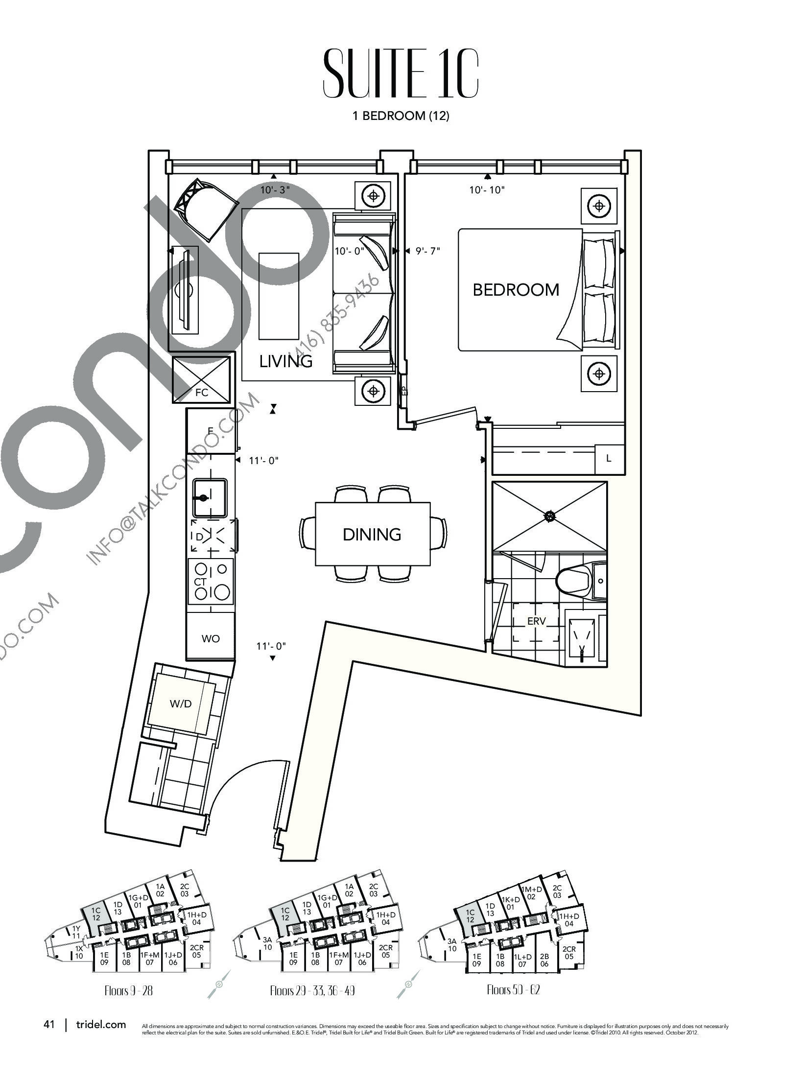 Suite 1C Floor Plan at Ten York Condos - 582 sq.ft