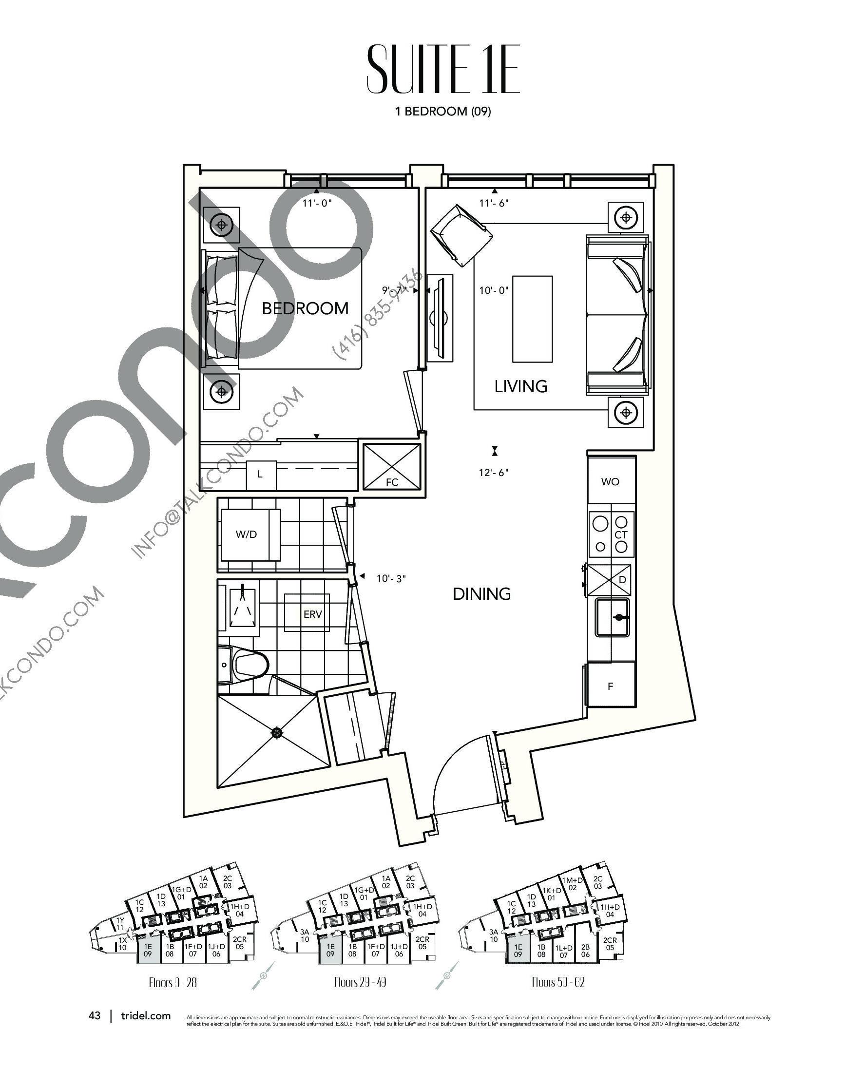 Suite 1E Floor Plan at Ten York Condos - 602 sq.ft
