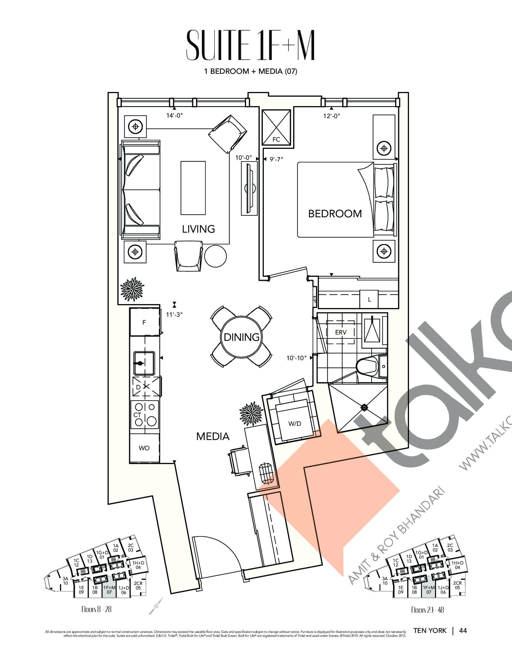 Suite 1F+M Floor Plan at Ten York Condos - 648 sq.ft