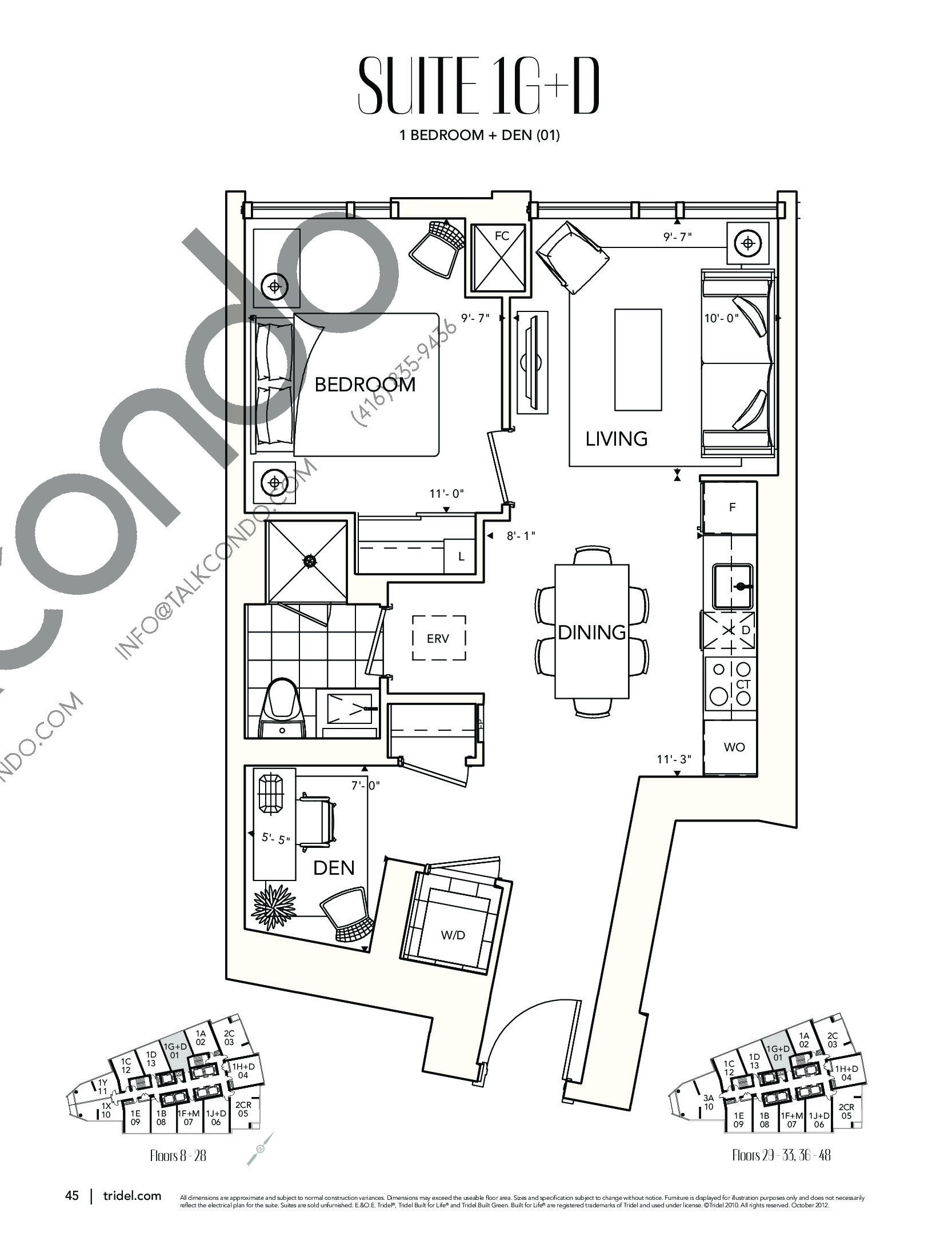 Suite 1G+D Floor Plan at Ten York Condos - 630 sq.ft