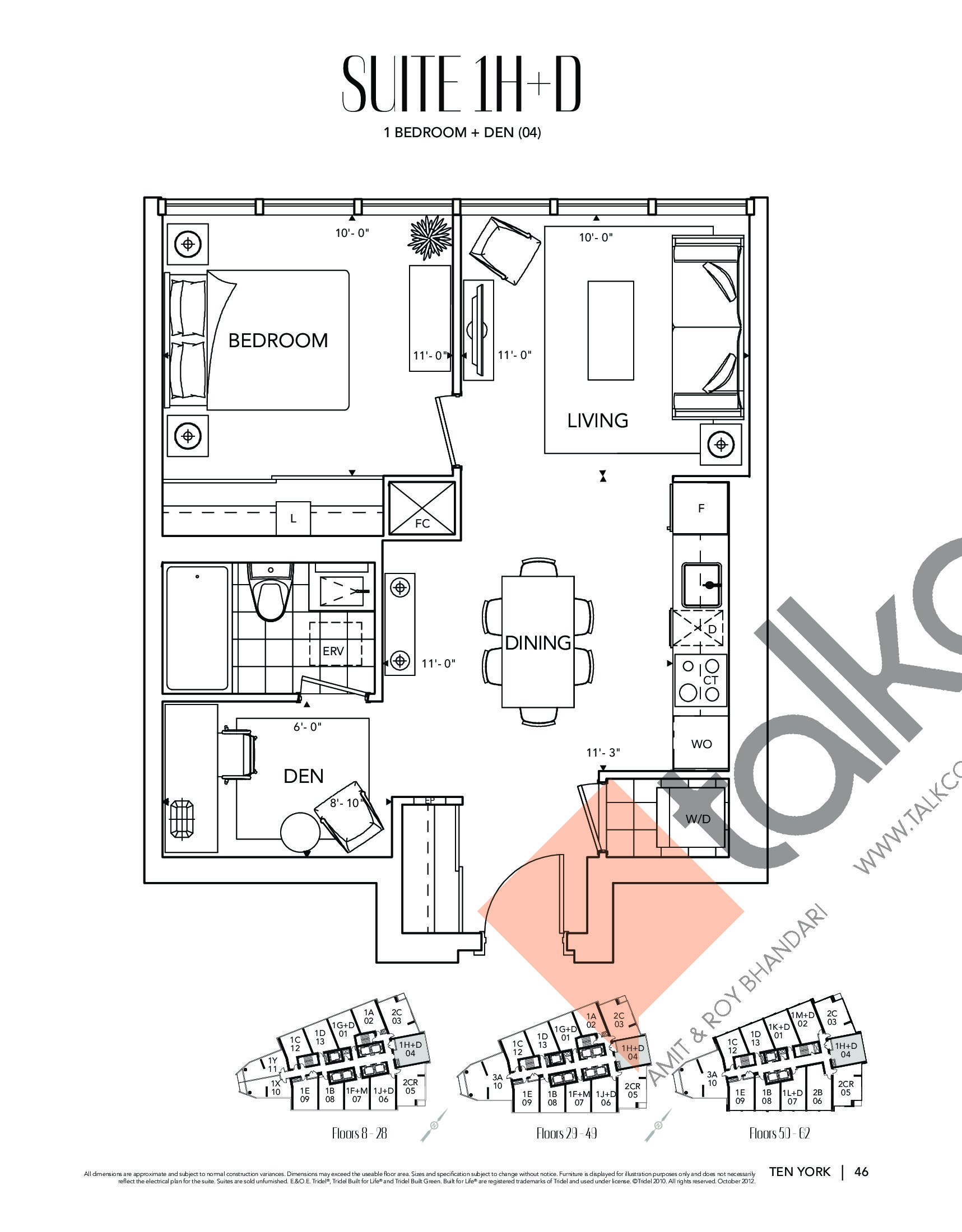 Suite 1H+D Floor Plan at Ten York Condos - 649 sq.ft