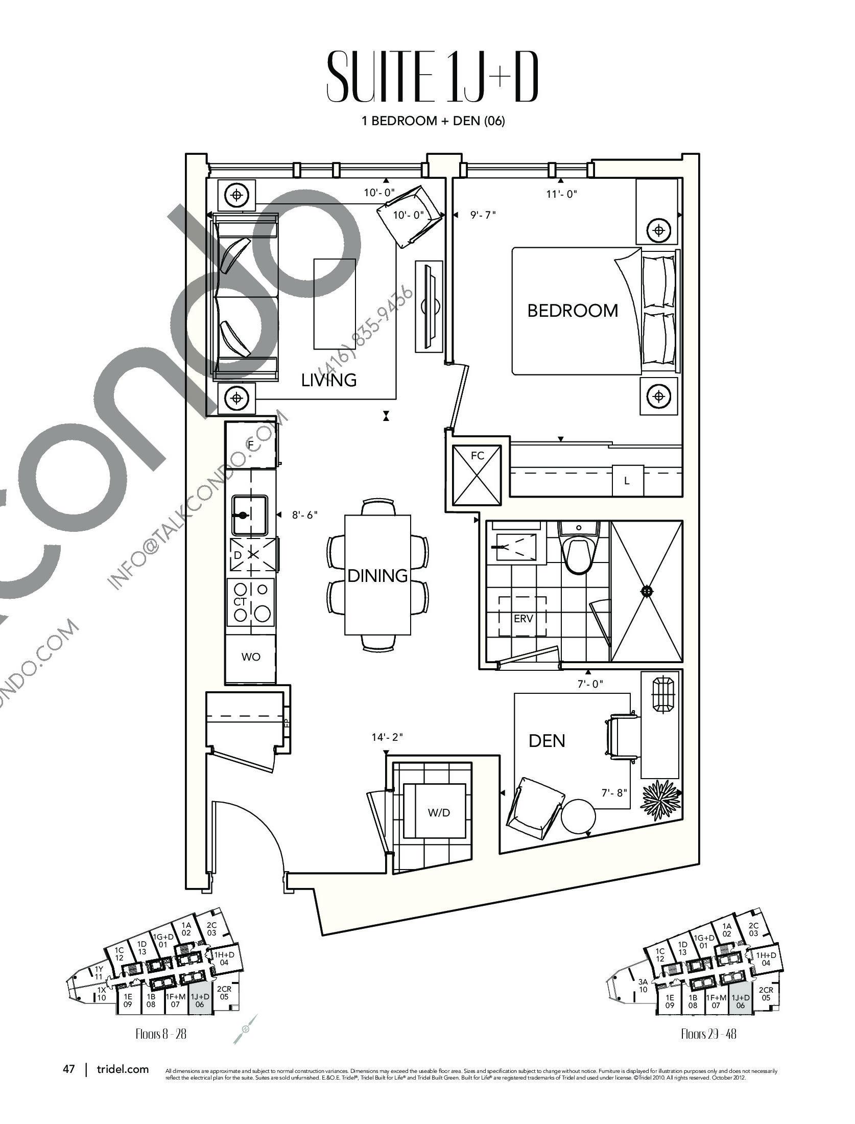 Suite 1J+D Floor Plan at Ten York Condos - 651 sq.ft