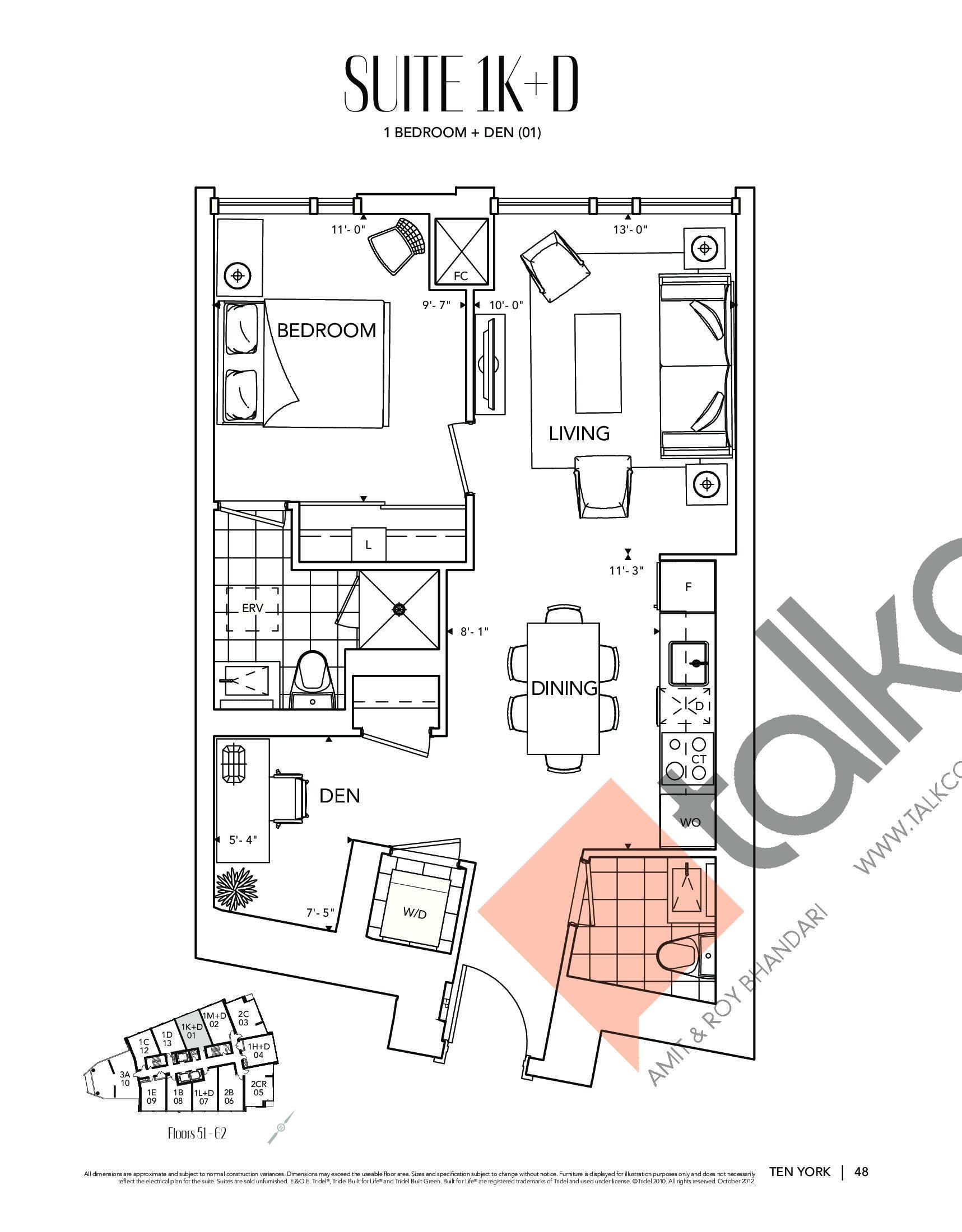 Suite 1K+D Floor Plan at Ten York Condos - 678 sq.ft