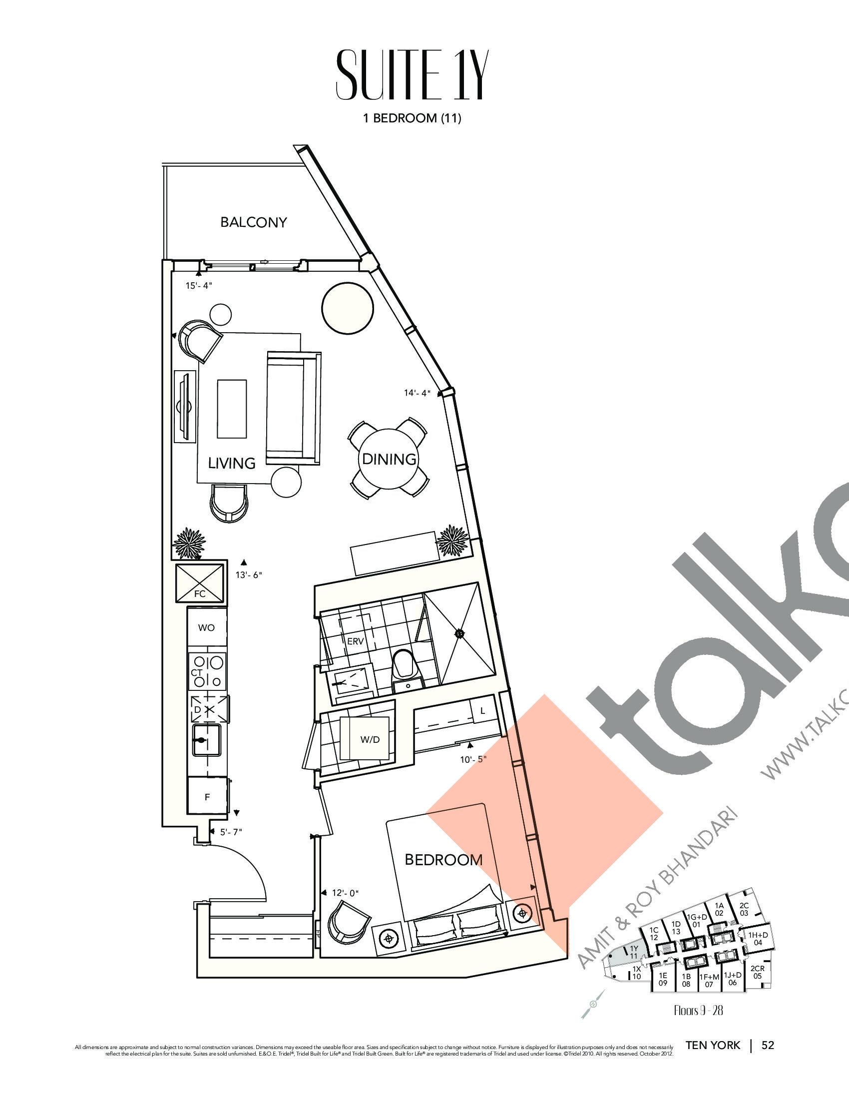 Suite 1Y Floor Plan at Ten York Condos - 639 sq.ft