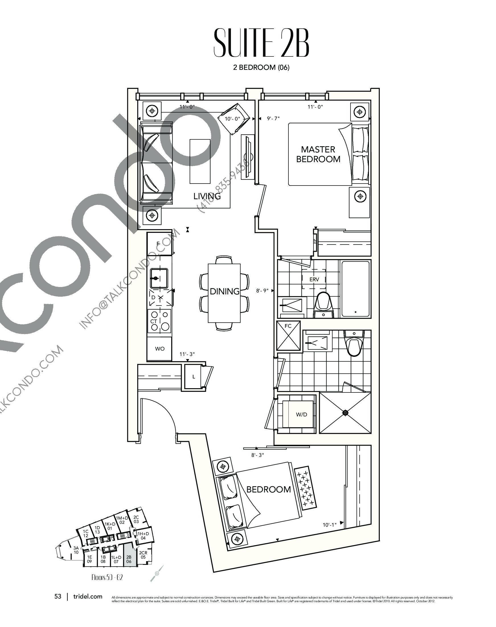 Suite 2B Floor Plan at Ten York Condos - 791 sq.ft