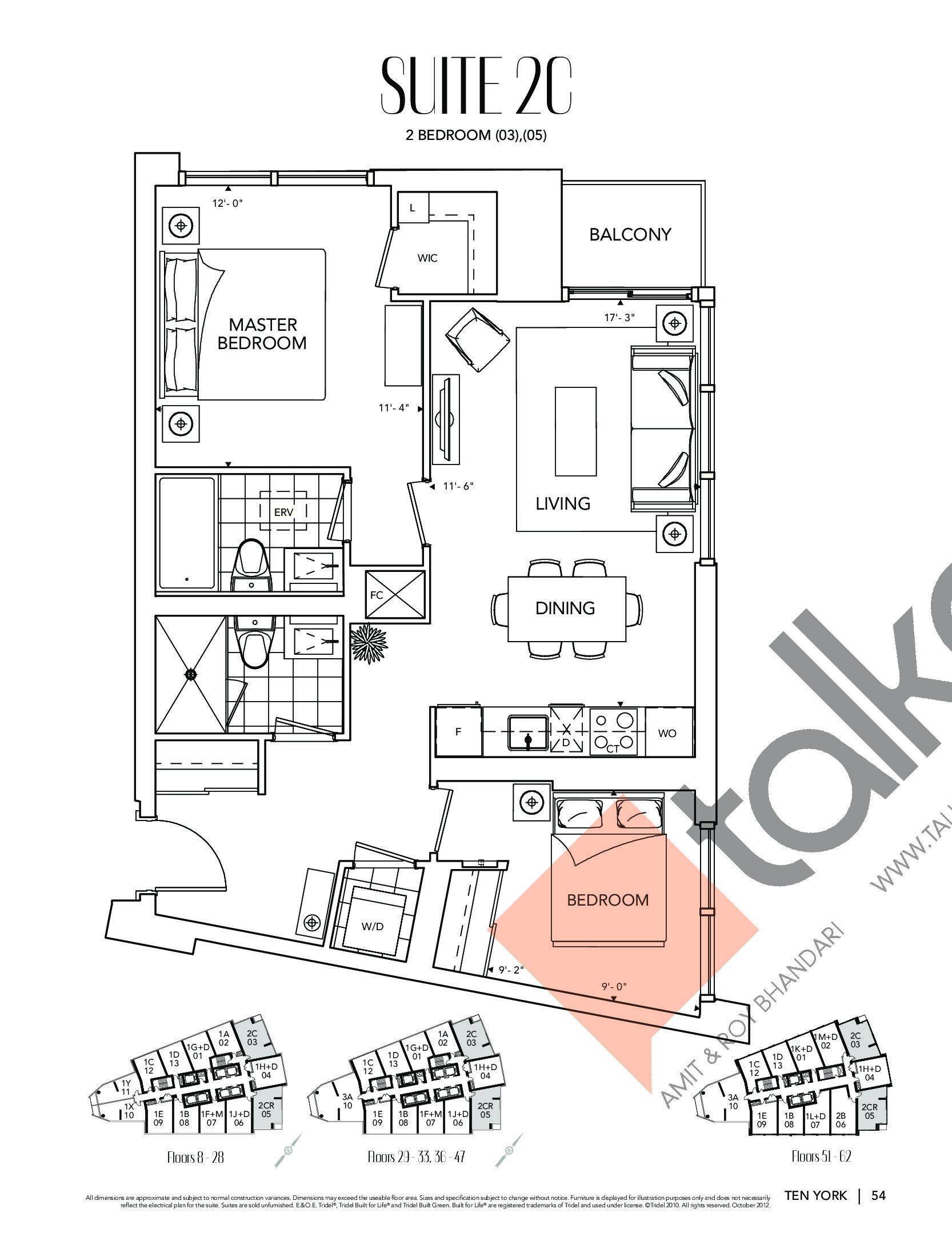 Suite 2C Floor Plan at Ten York Condos - 830 sq.ft