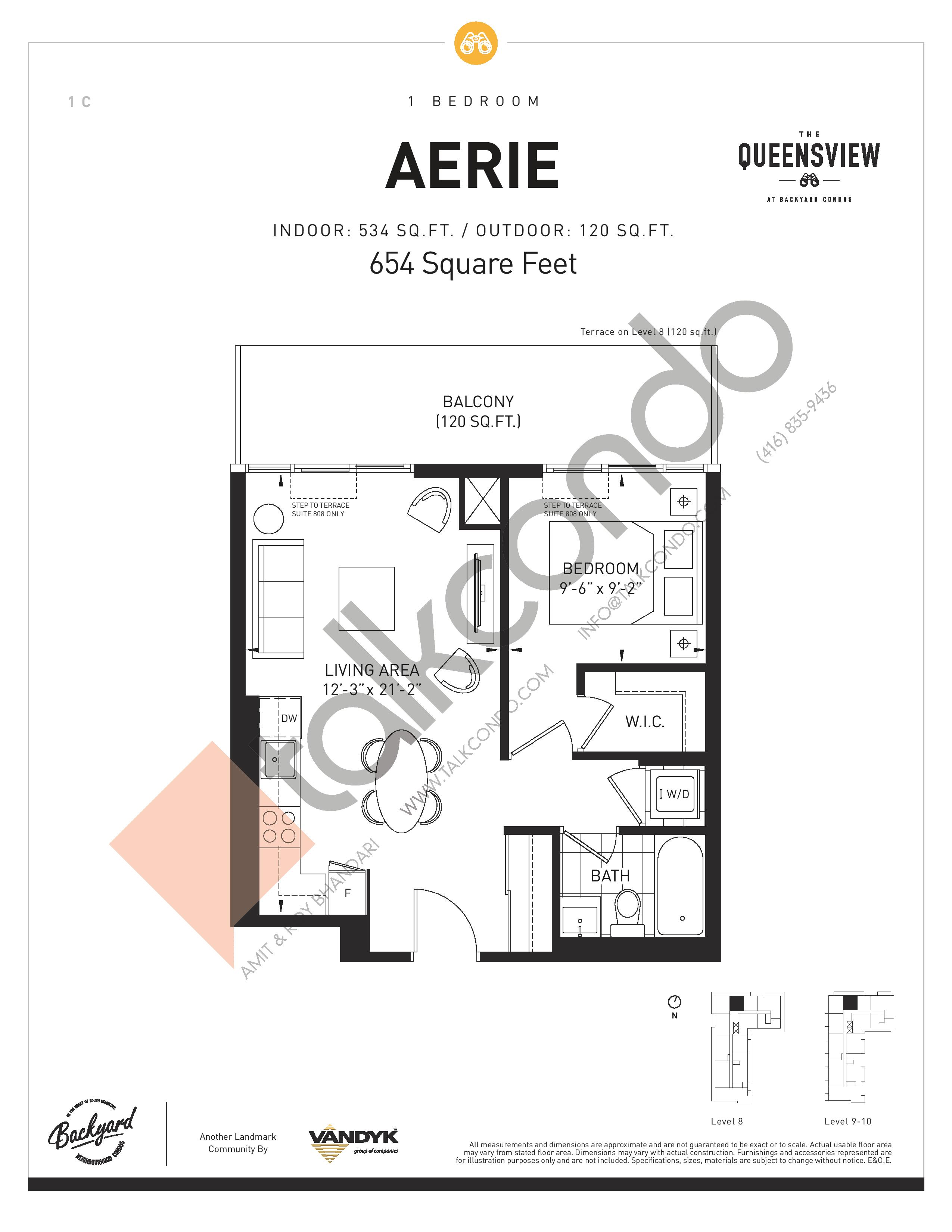 Aerie Floor Plan at The Queensview at Backyard Condos - 534 sq.ft