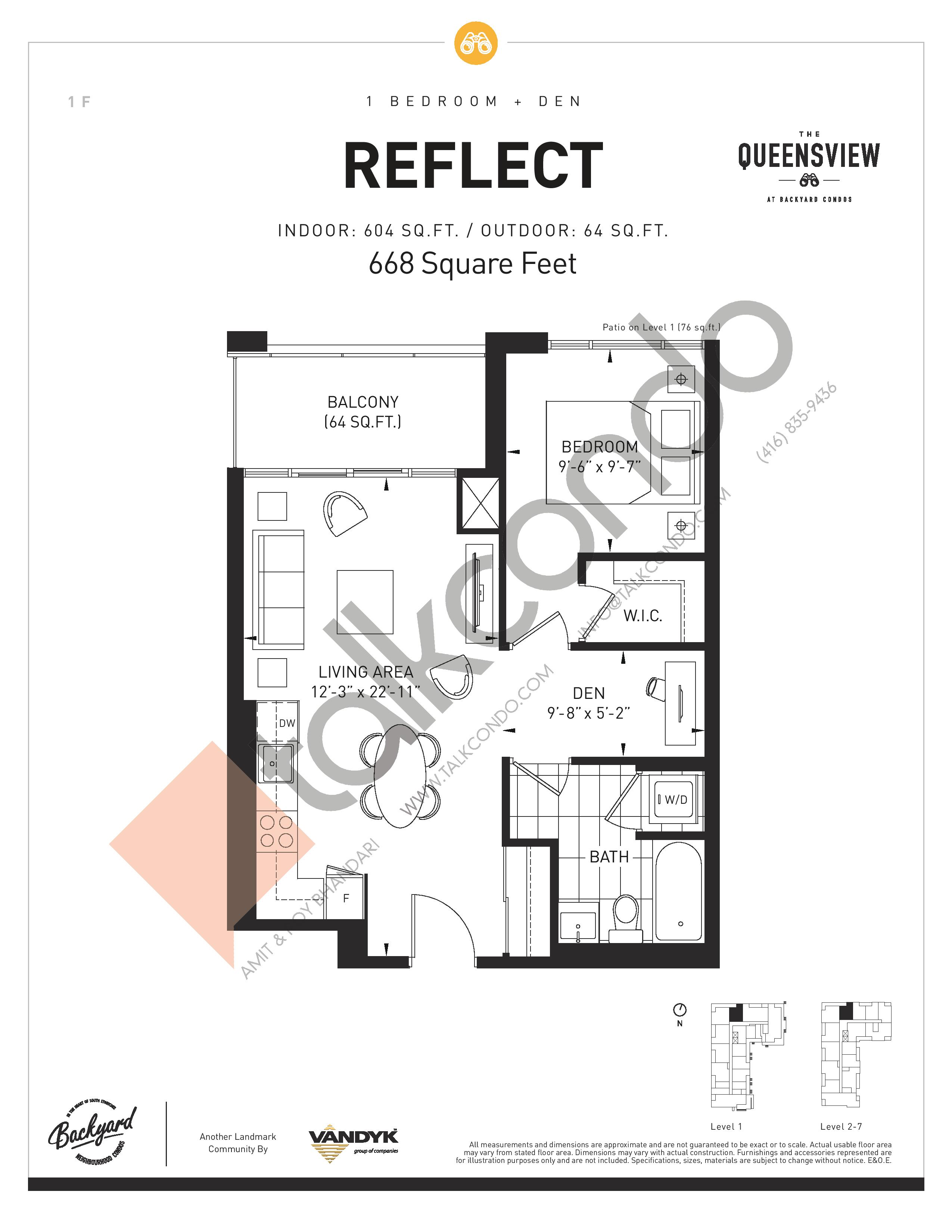 Reflect Floor Plan at The Queensview at Backyard Condos - 604 sq.ft