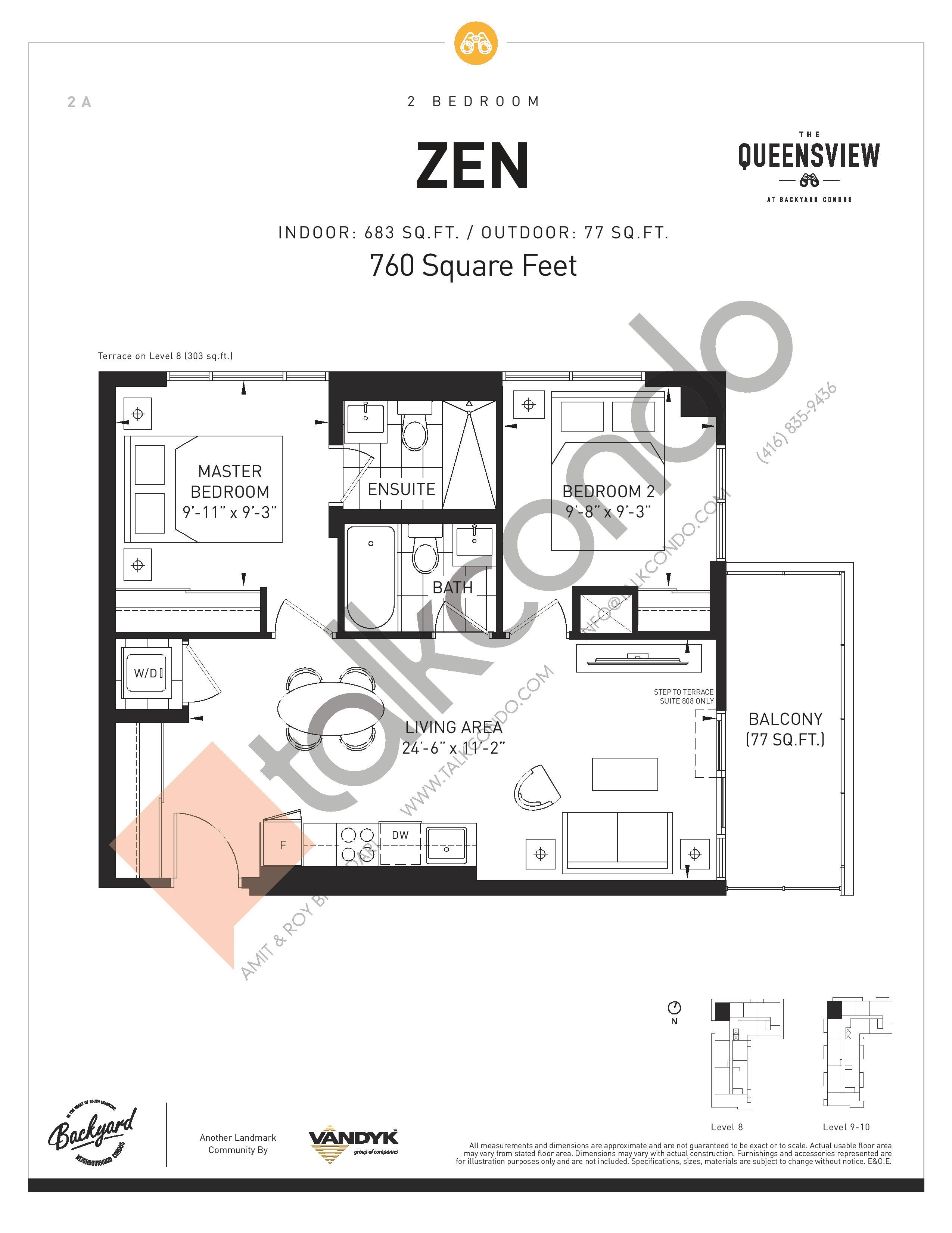 Zen Floor Plan at The Queensview at Backyard Condos - 683 sq.ft
