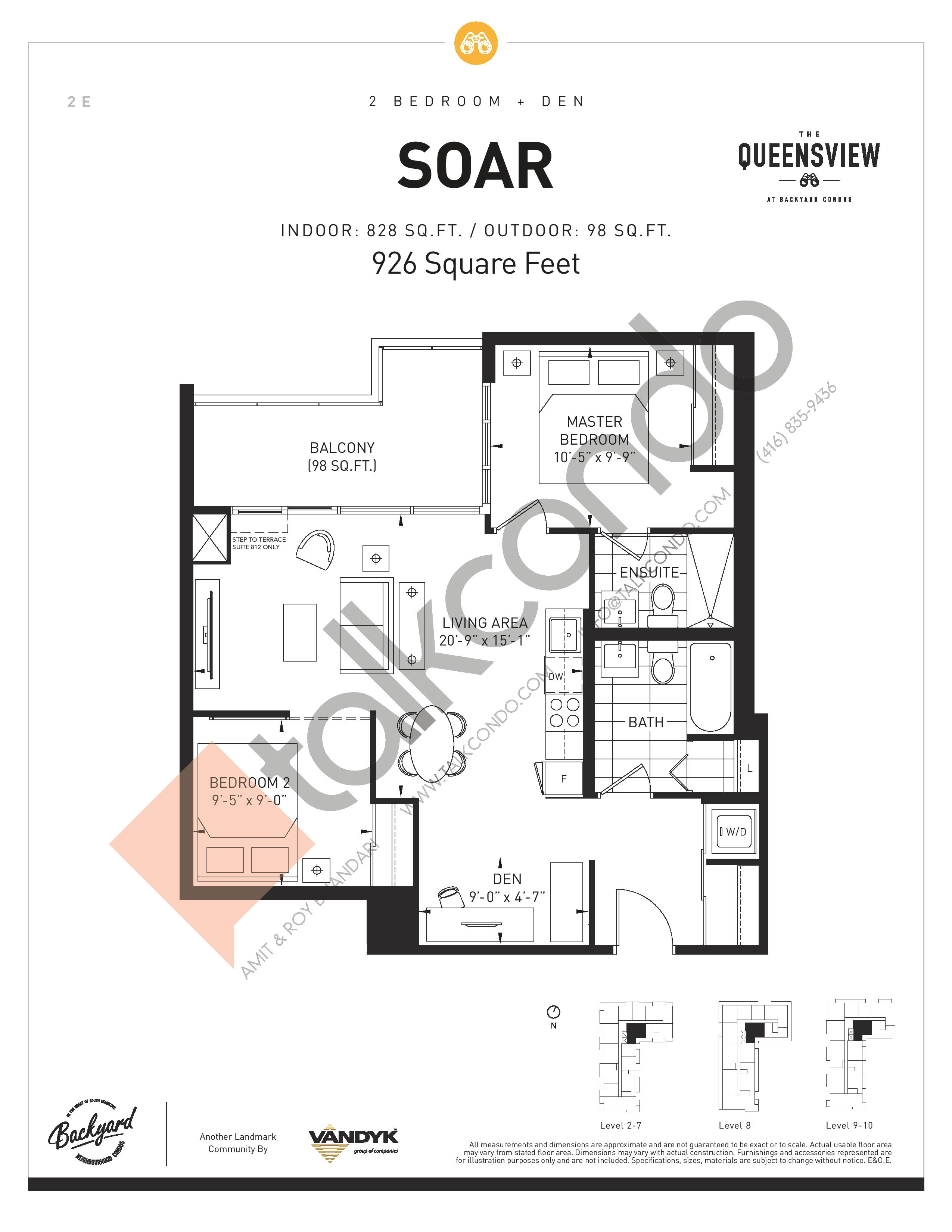 Soar Floor Plan at The Queensview at Backyard Condos - 828 sq.ft