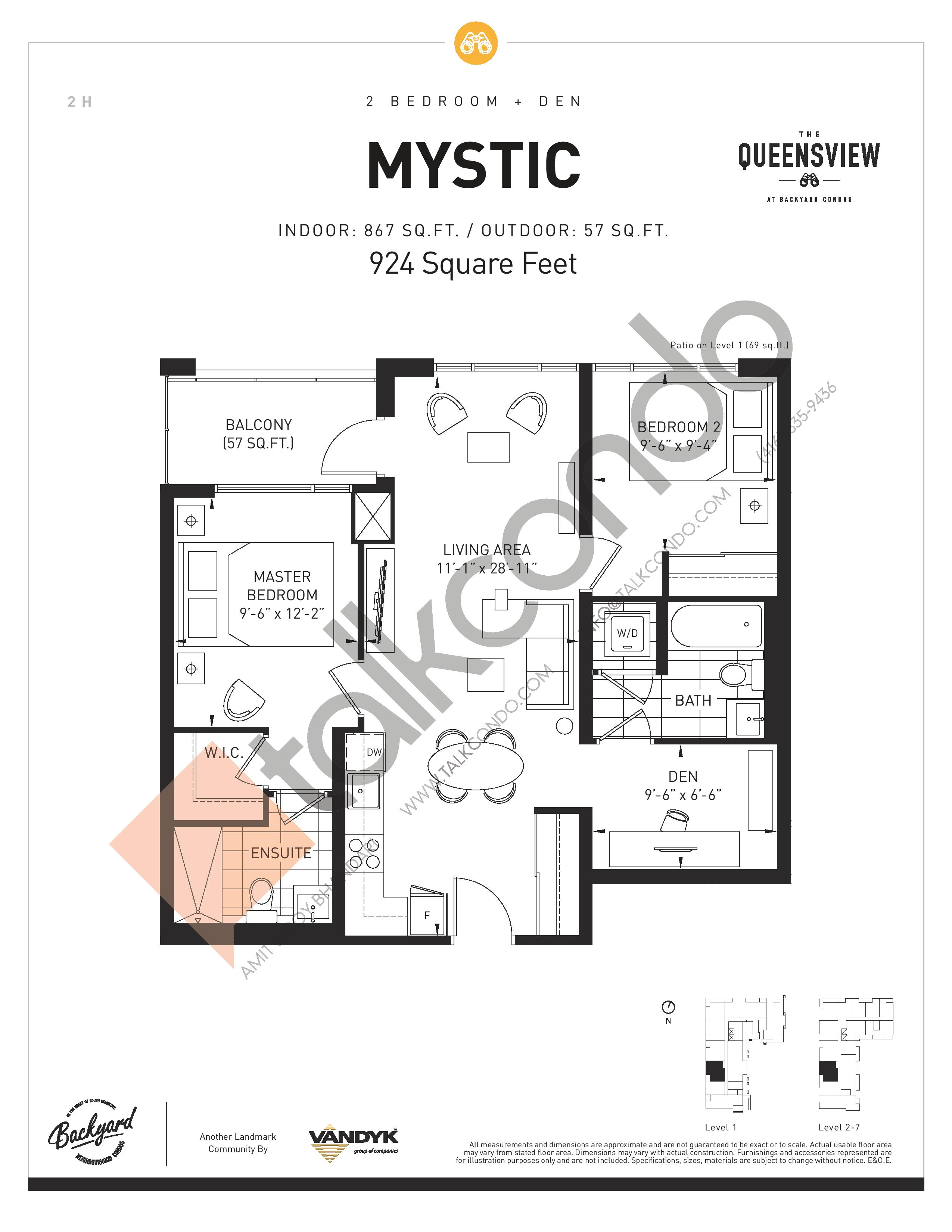 Mystic Floor Plan at The Queensview at Backyard Condos - 867 sq.ft
