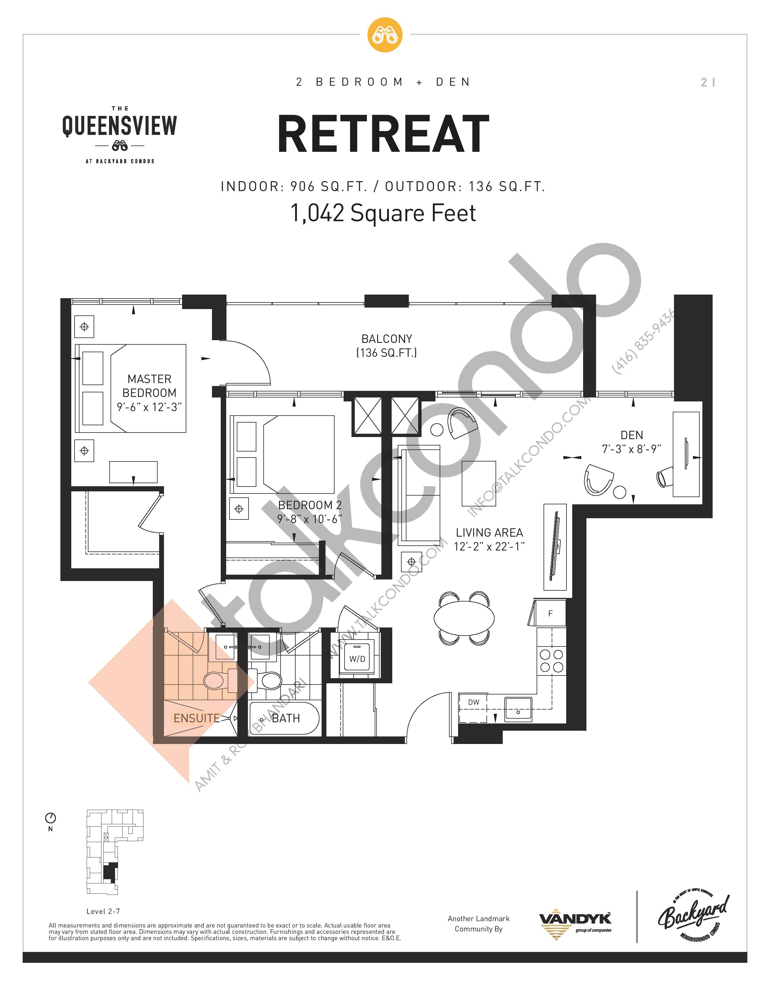 Retreat Floor Plan at The Queensview at Backyard Condos - 906 sq.ft
