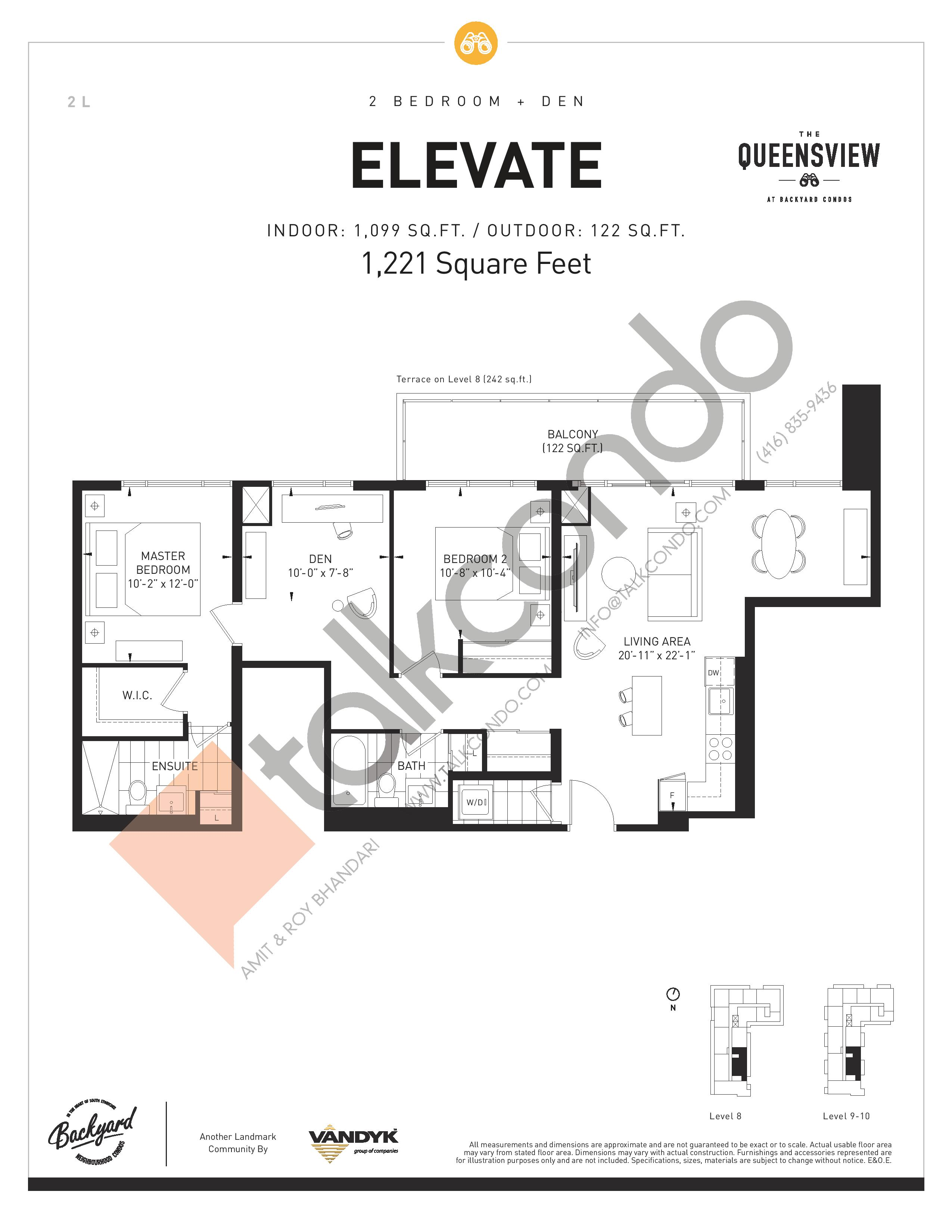 Elevate Floor Plan at The Queensview at Backyard Condos - 1099 sq.ft