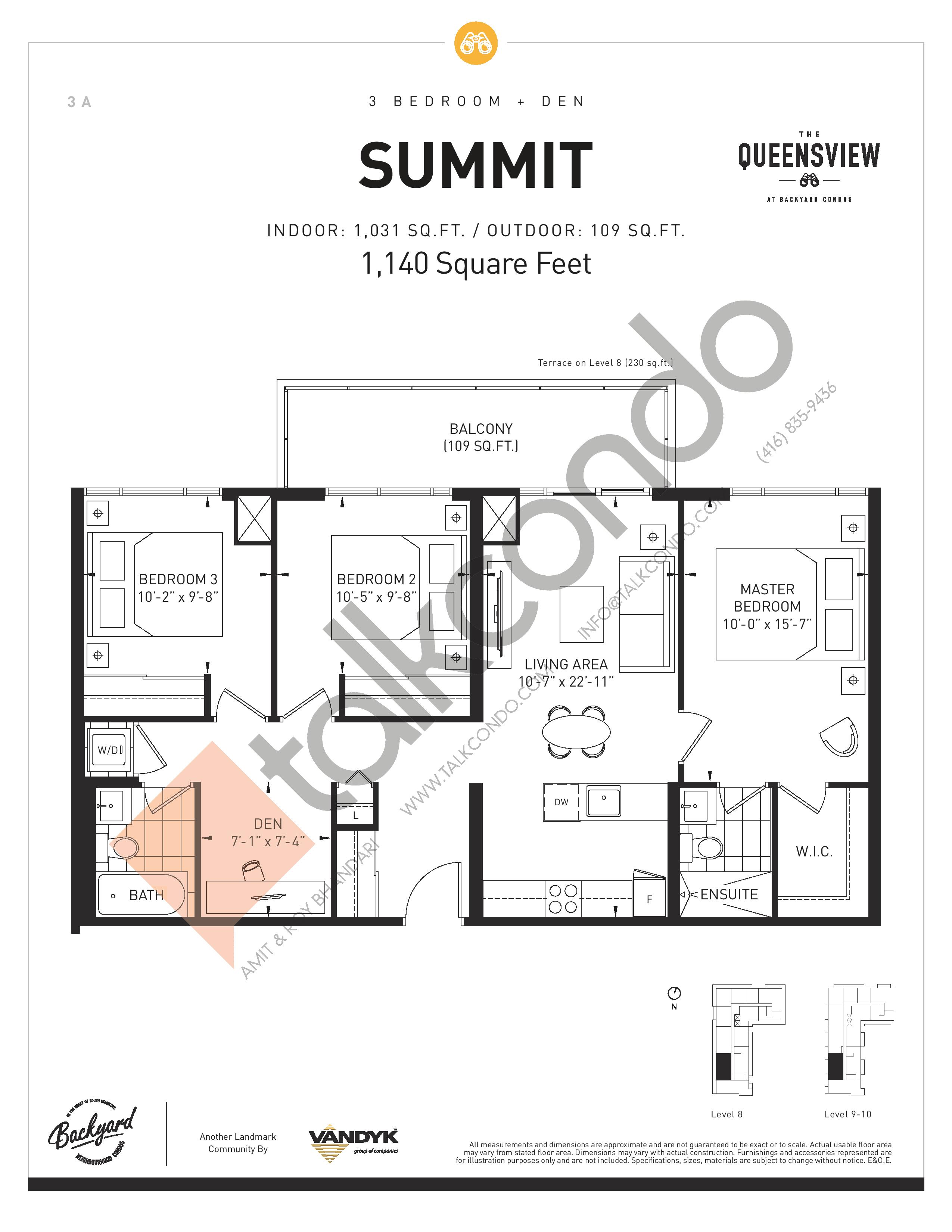 Summit Floor Plan at The Queensview at Backyard Condos - 1031 sq.ft