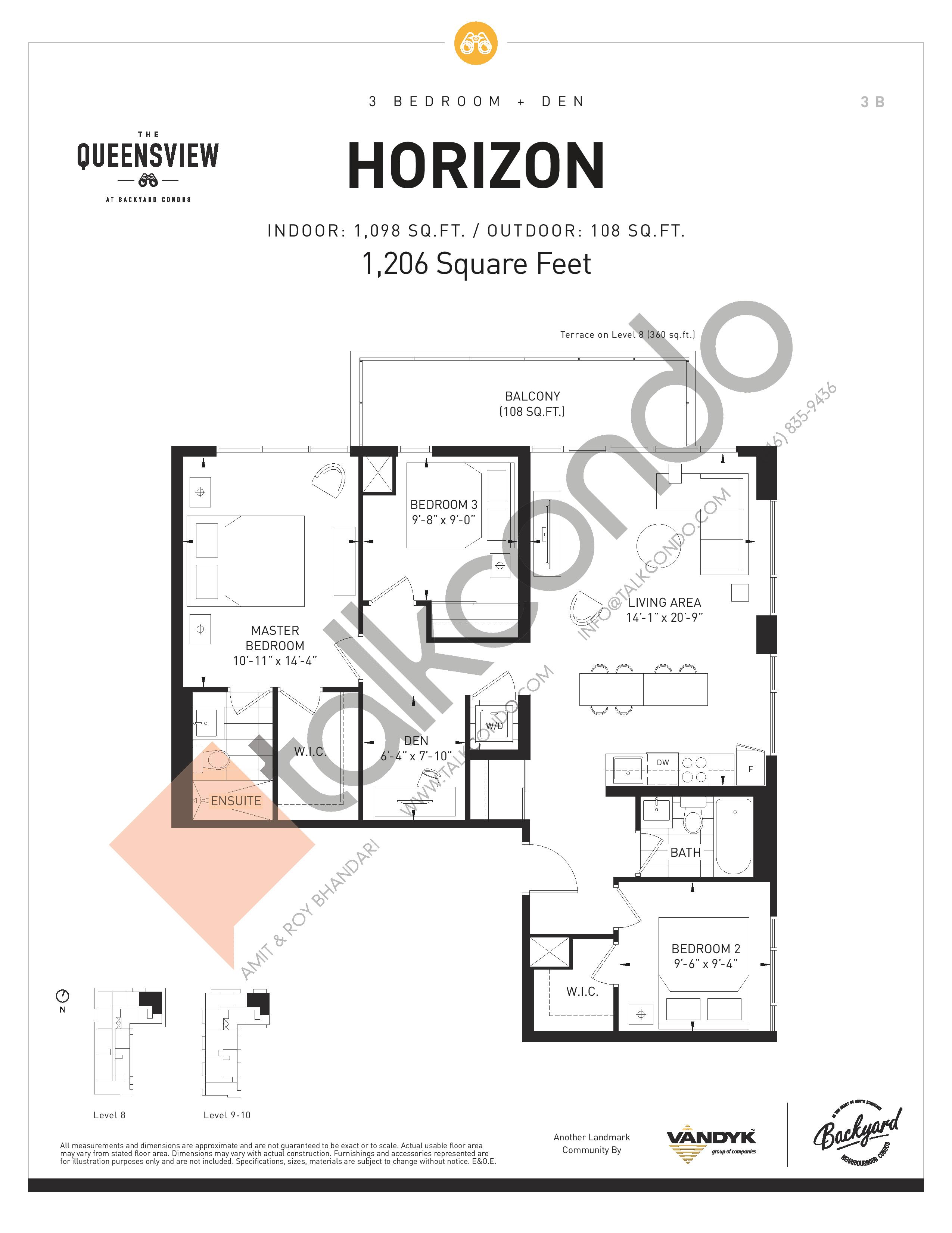 Horizon Floor Plan at The Queensview at Backyard Condos - 1098 sq.ft