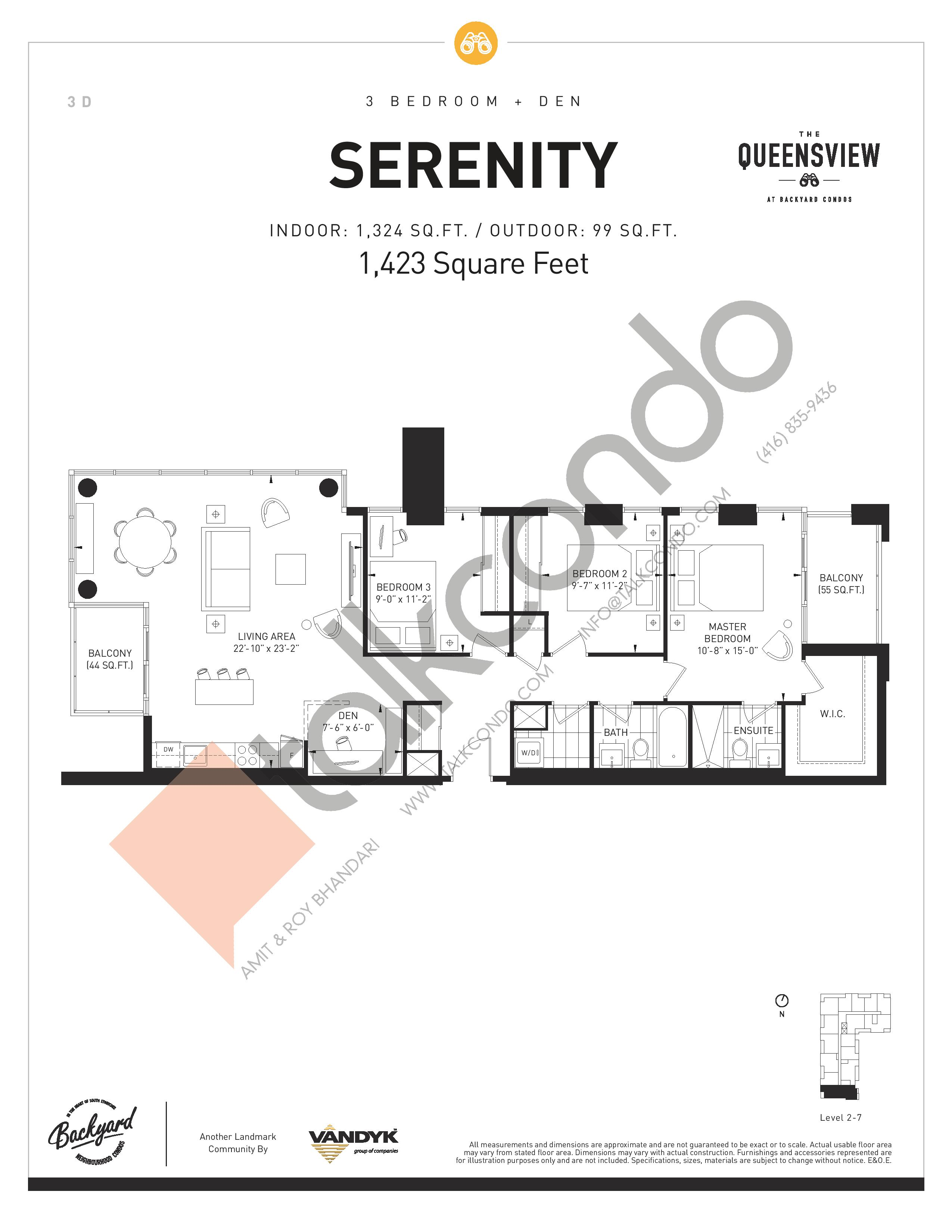 Serenity Floor Plan at The Queensview at Backyard Condos - 1324 sq.ft