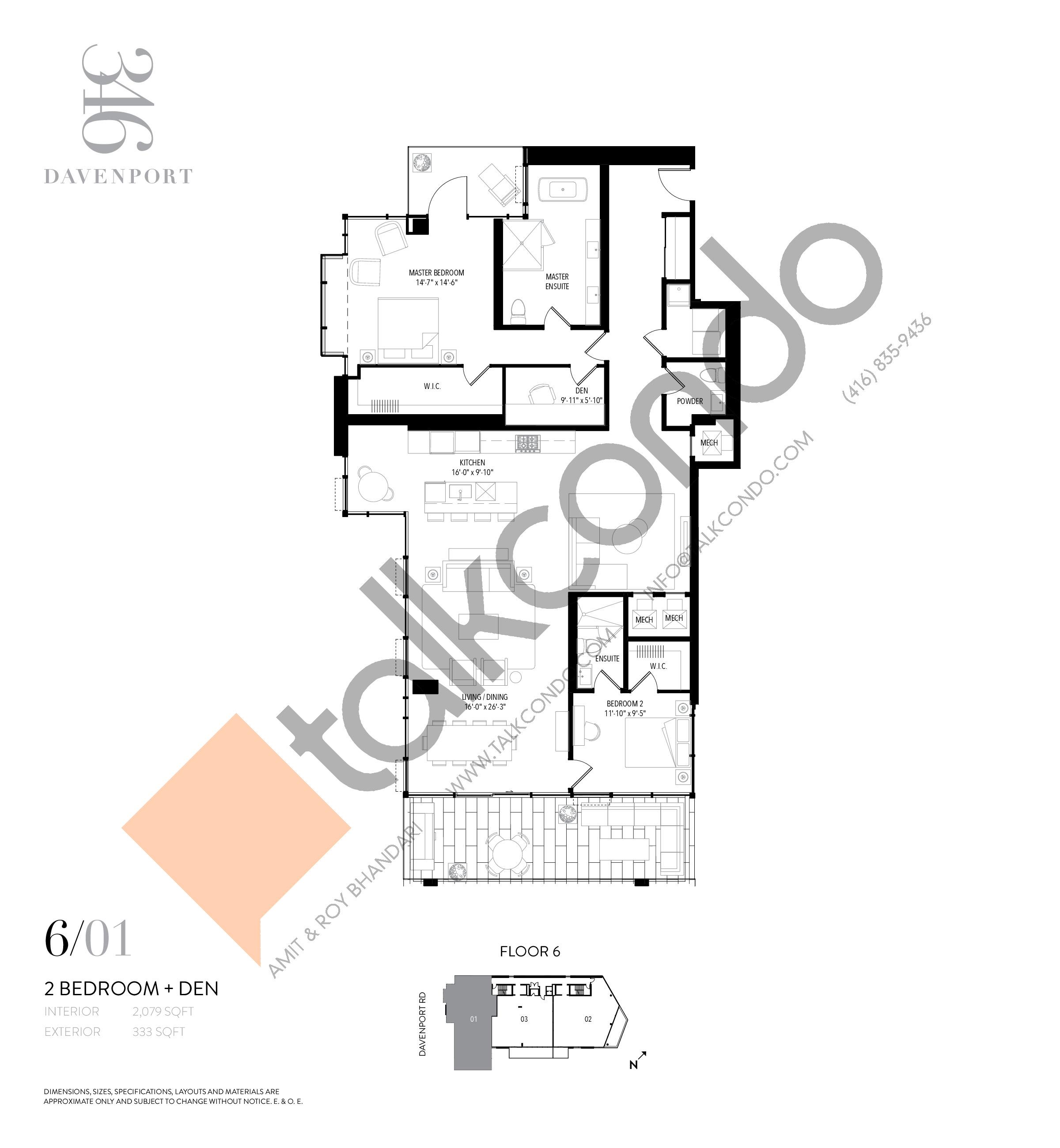 Unit 601 Floor Plan at 346 Davenport Condos - 2079 sq.ft