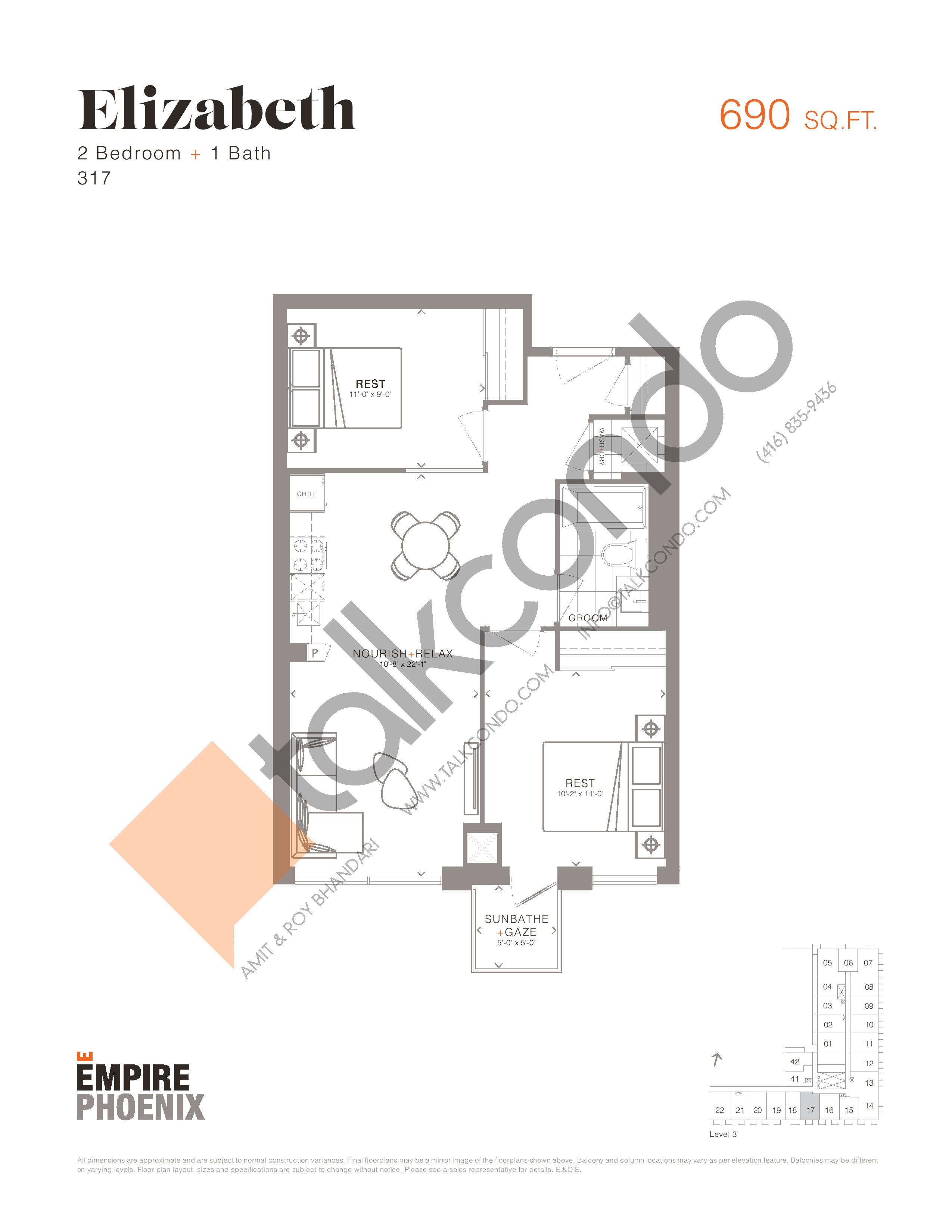 Elizabeth Floor Plan at Empire Phoenix Condos - 690 sq.ft