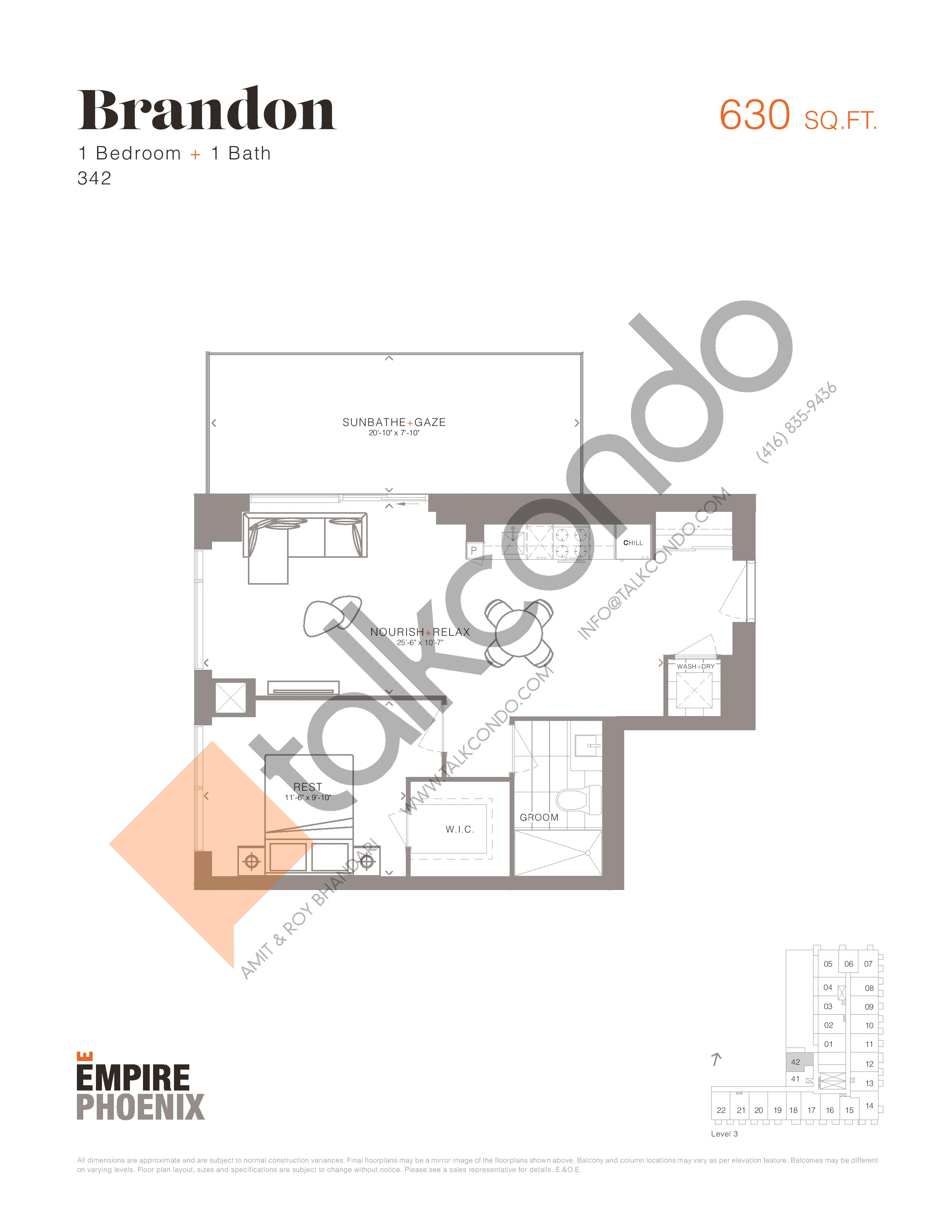 Brandon Floor Plan at Empire Phoenix Condos - 630 sq.ft