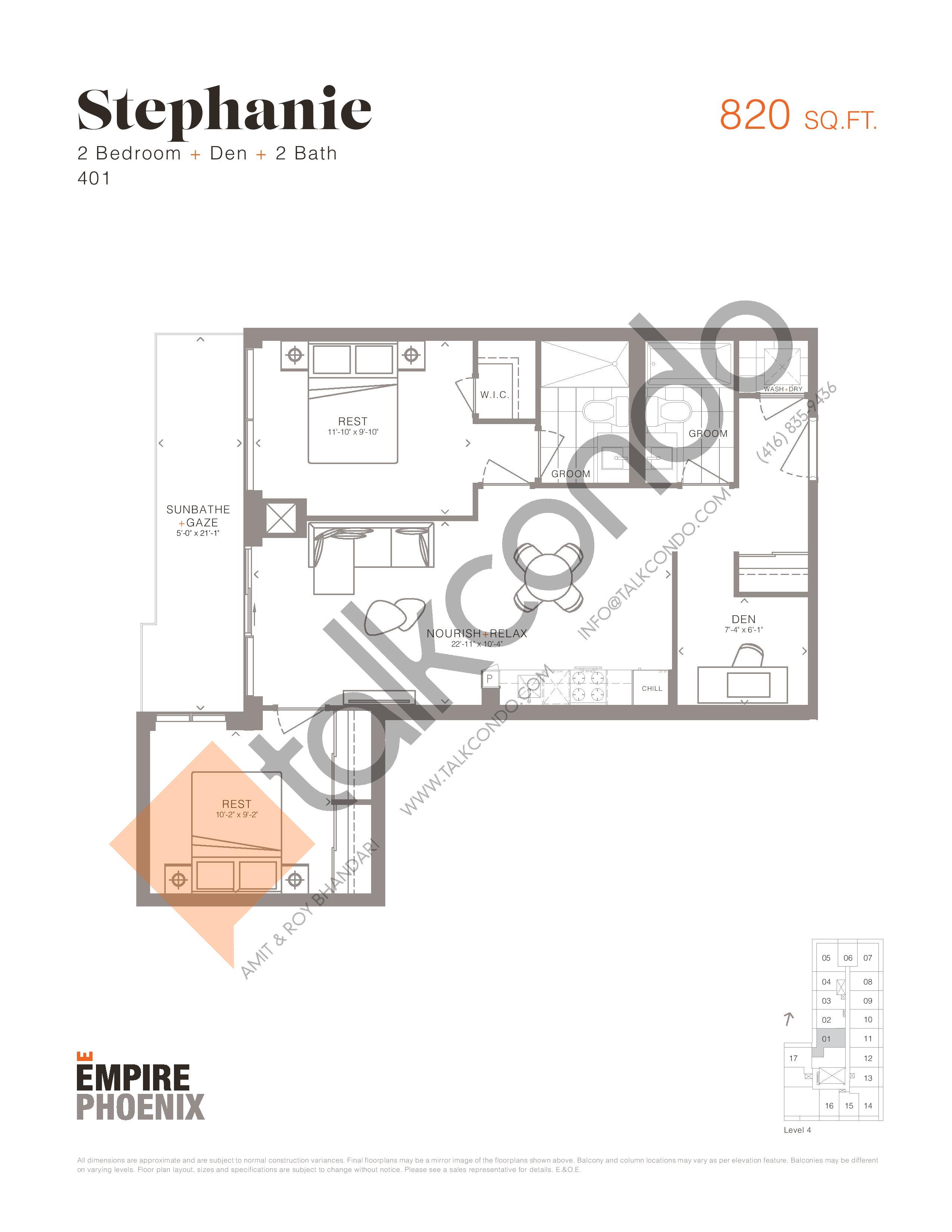Stephanie Floor Plan at Empire Phoenix Condos - 820 sq.ft