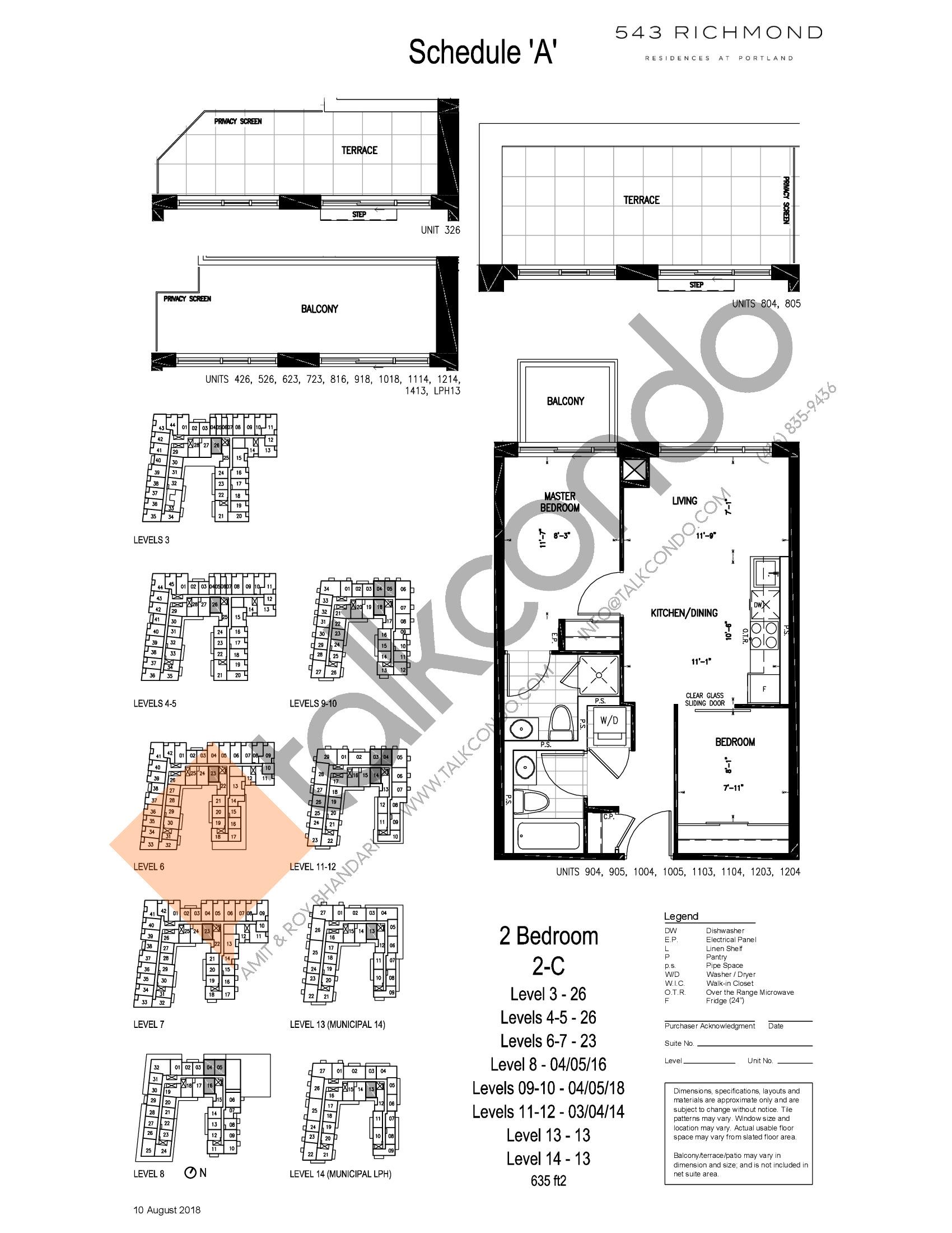 2-C Floor Plan at 543 Richmond St Condos - 635 sq.ft
