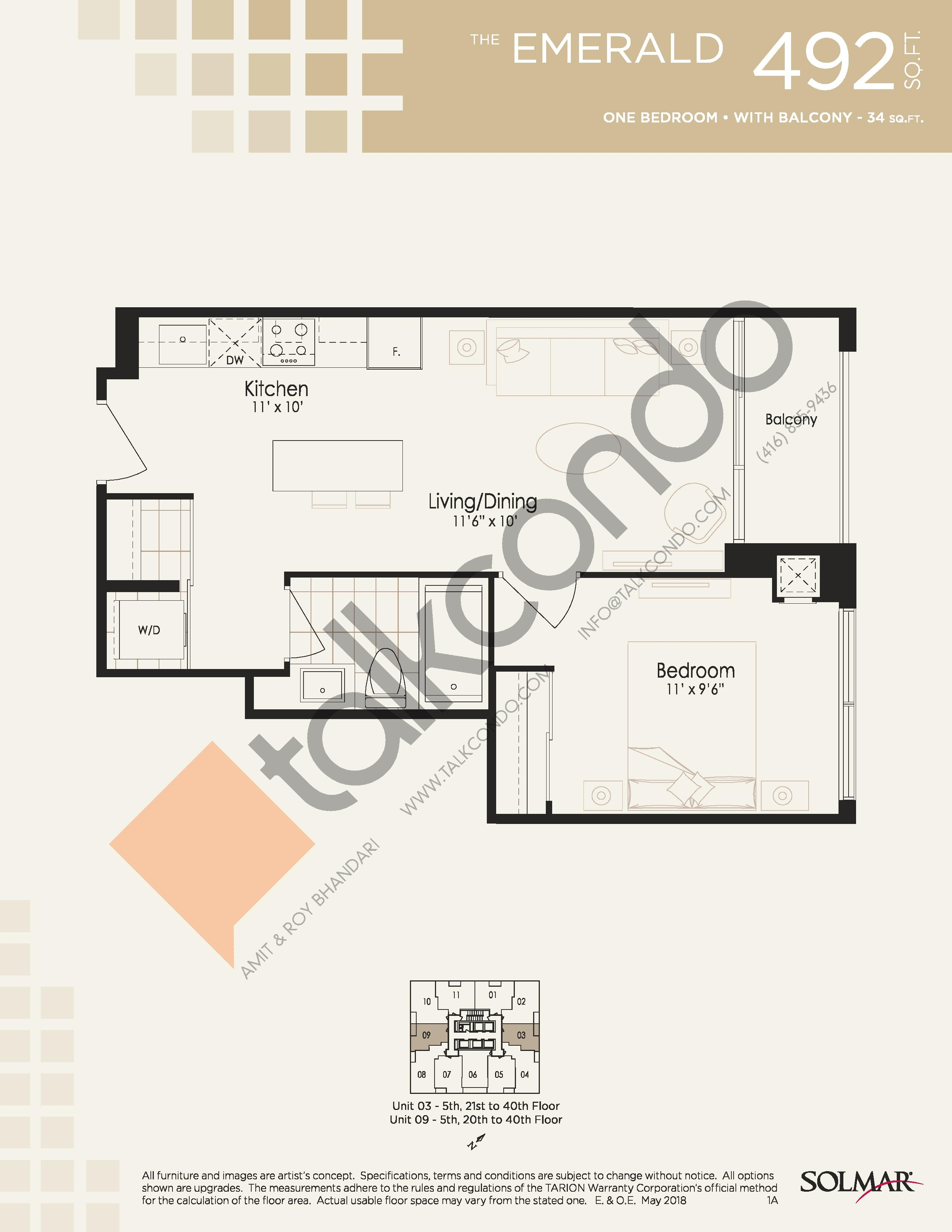 The Emerald Floor Plan at Edge Tower 2 Condos - 492 sq.ft