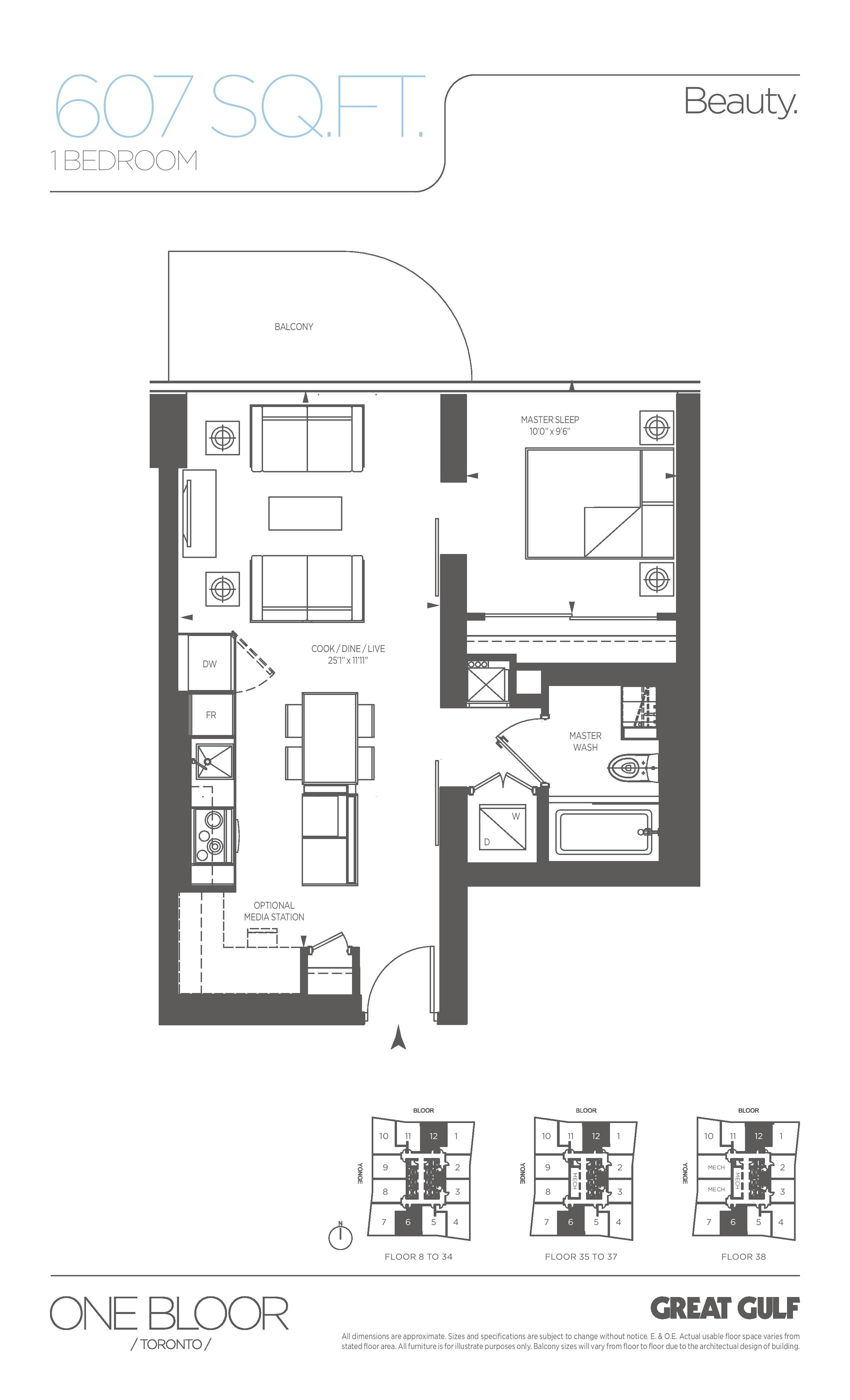 Beauty Floor Plan at One Bloor Condos - 607 sq.ft