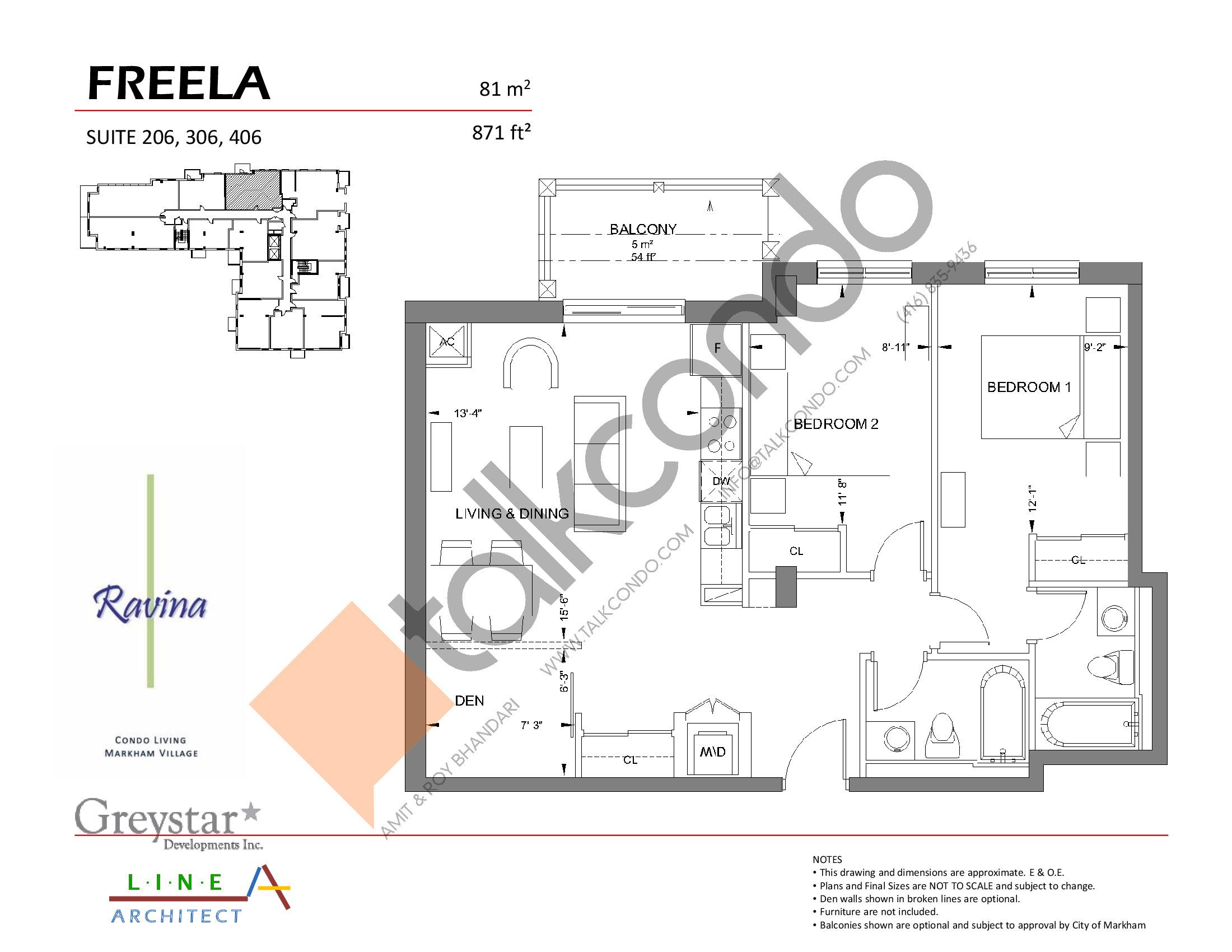 Freela Floor Plan at Ravina Condos - 871 sq.ft