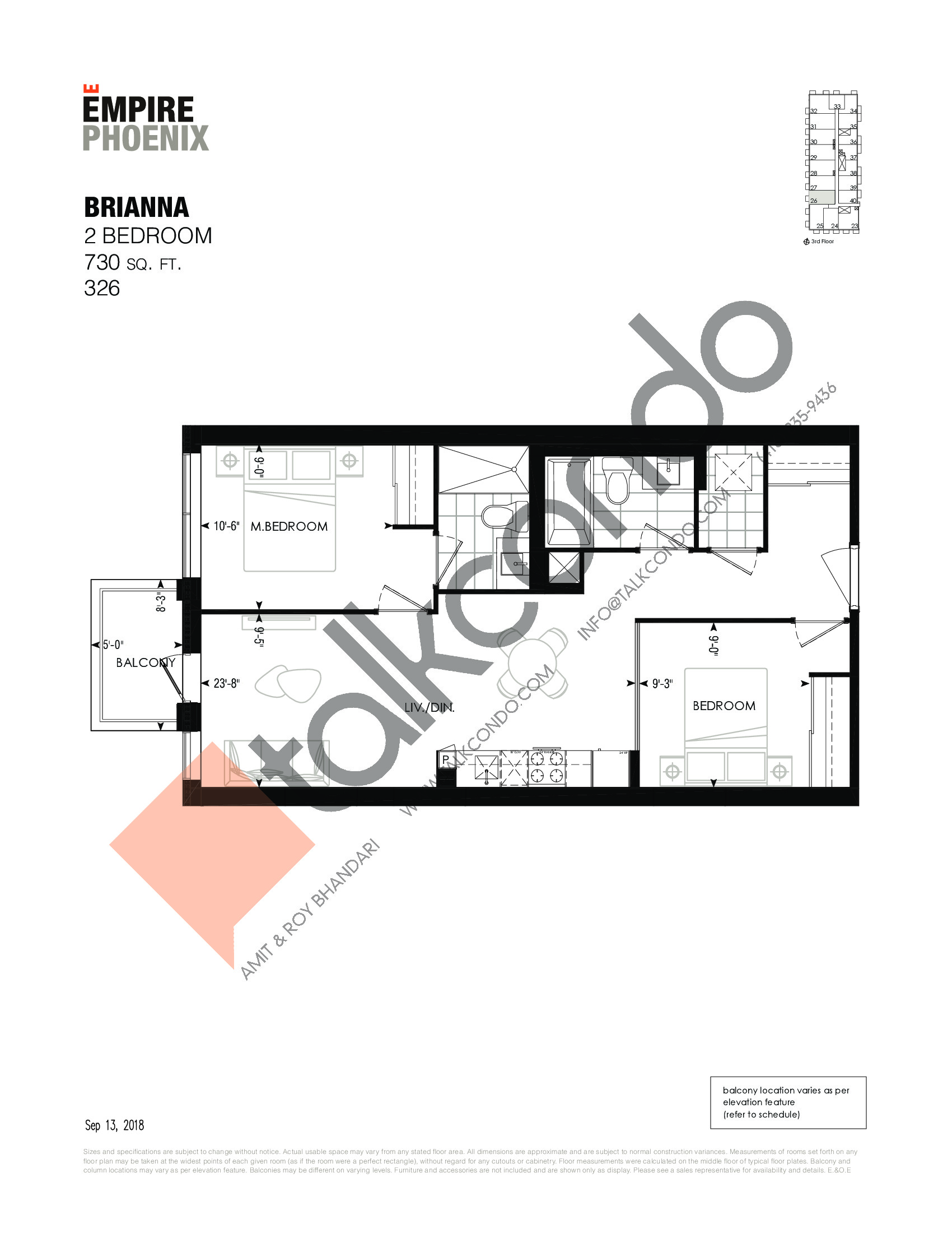 Brianna Floor Plan at Empire Phoenix Phase 2 Condos - 730 sq.ft