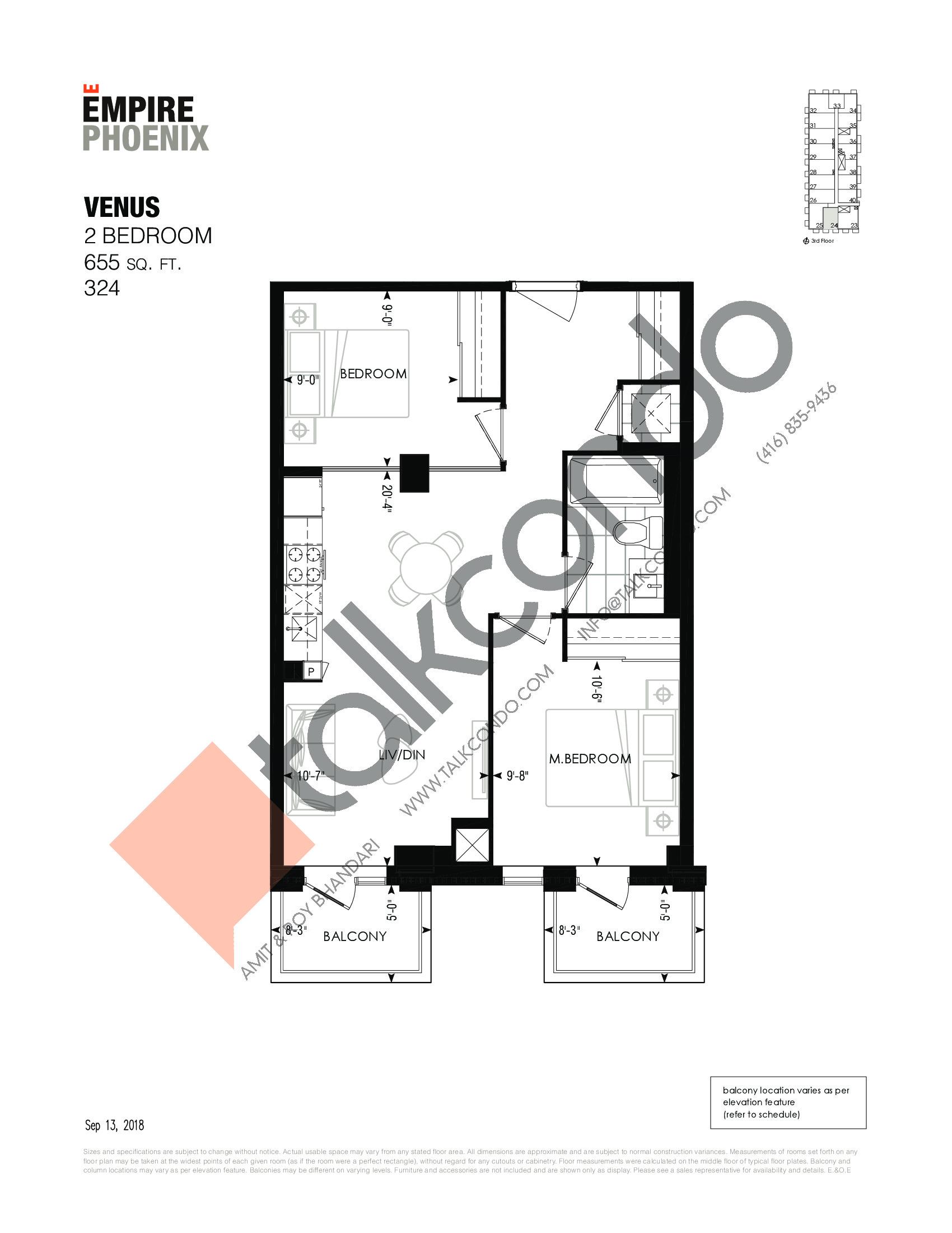 Venus Floor Plan at Empire Phoenix Phase 2 Condos - 655 sq.ft