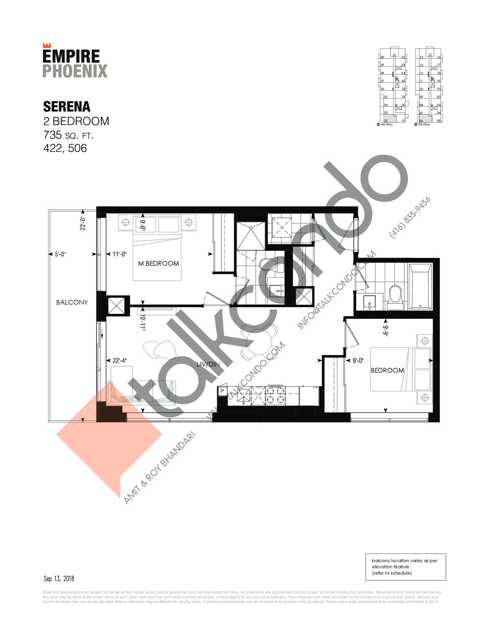 Serena Floor Plan at Empire Phoenix Phase 2 Condos - 735 sq.ft